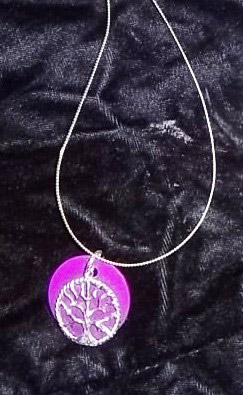 Small TREE OF LIFE Necklace Purple Disk