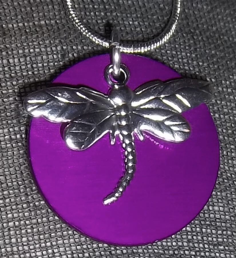 Dragonfly Necklace with large Energy Disk (silver)
