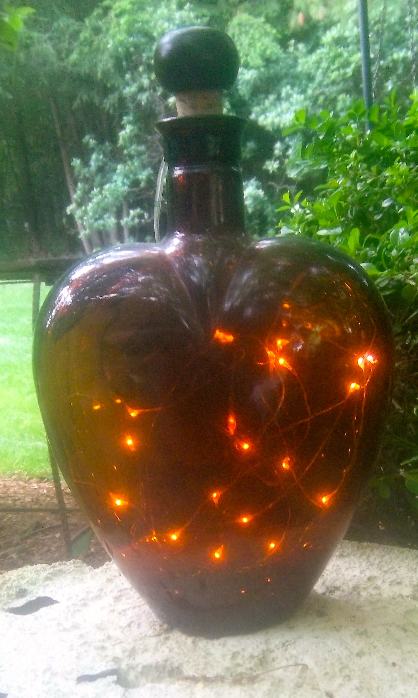 Amber Heart-Shaped Glass Lantern