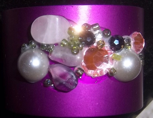 Wide Energy Cuff 'b' with Rose Quartz/Crystals/Pearls