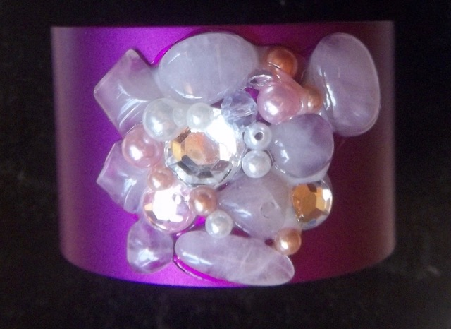 Wide Energy Cuff with Rose Quartz/Crystals/Pearls