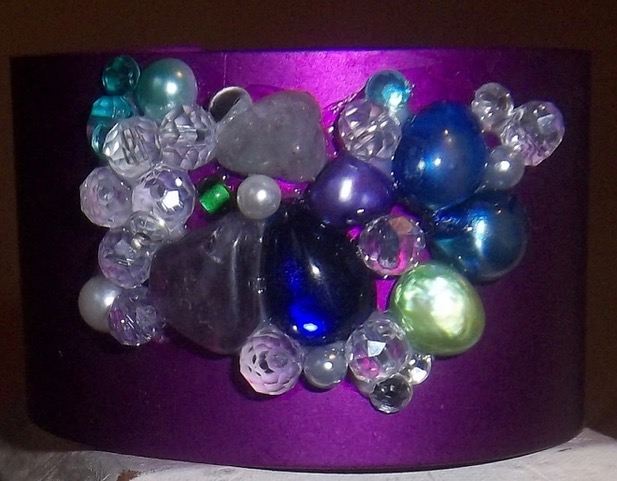 Wide Energy Cuff with Amethyst/Crystals/Pearls