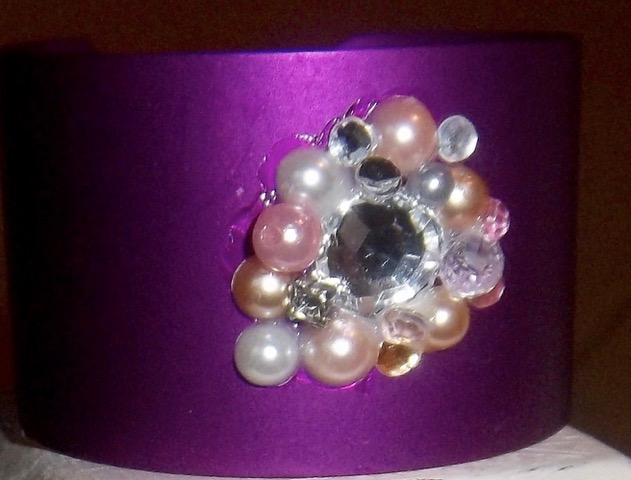 Wide Energy Cuff with Crystals/Pearls/Rhinestones