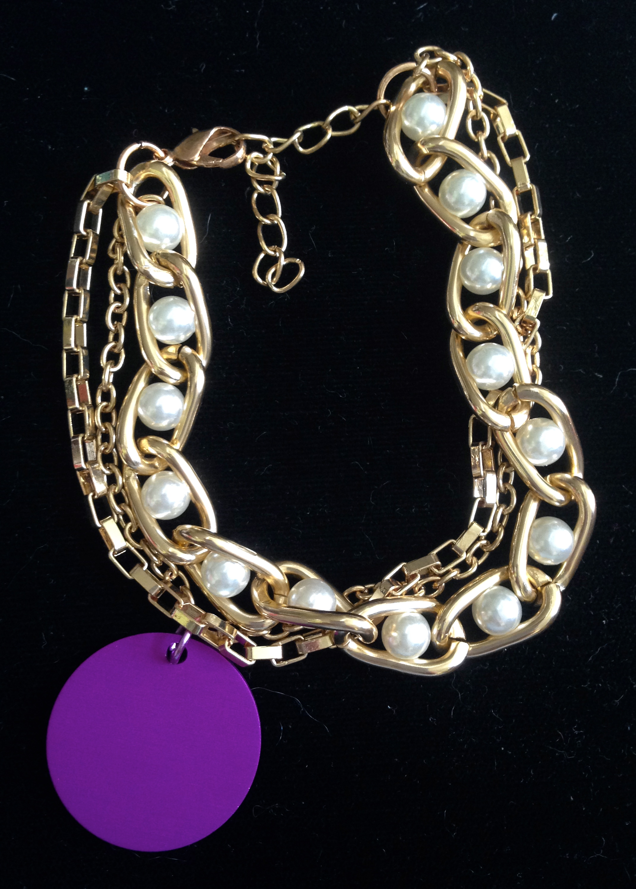 Gold and Pearl Multi-Chain Bracelet with Energy Disk