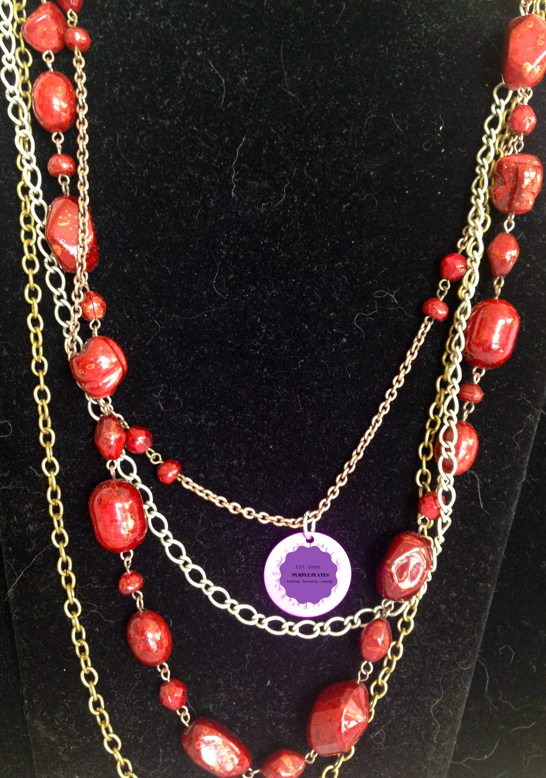 Morrocan Beads with Energy Disk Necklace