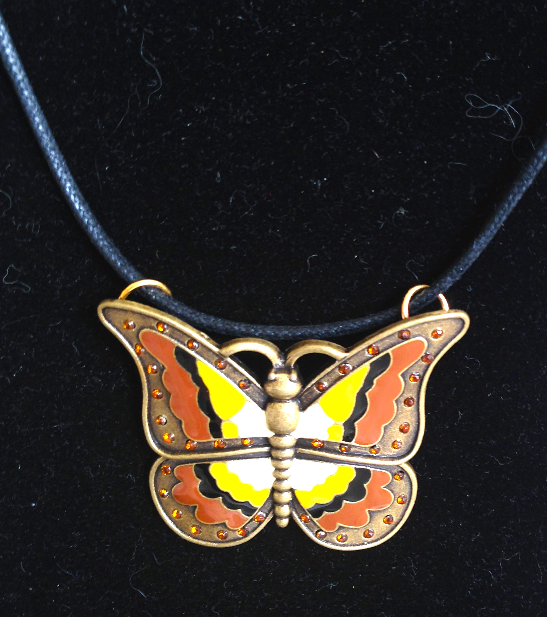 Enamel Butterfly Necklace on Cord
