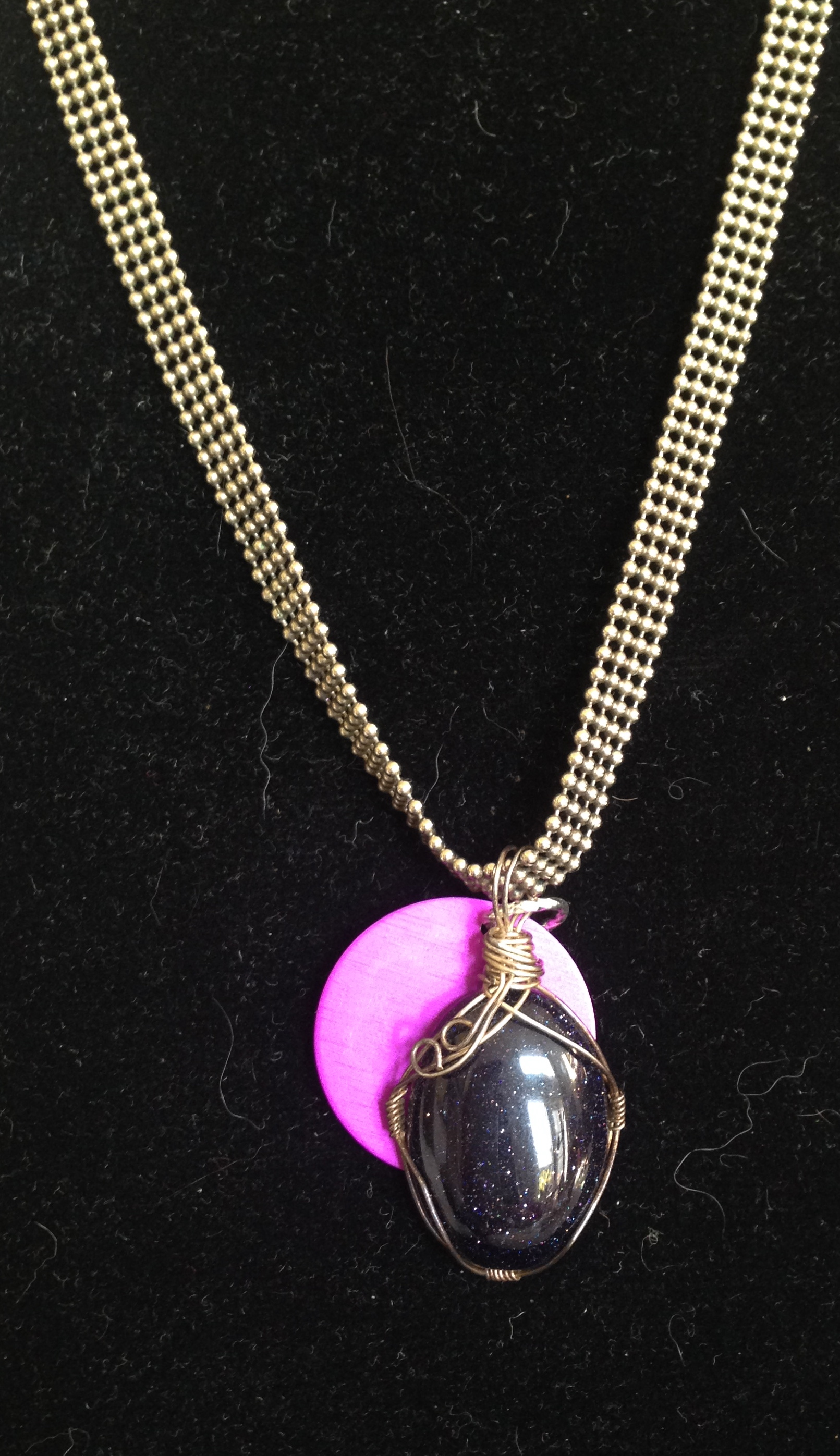 Blue Obsidian Necklace with Energy Disk