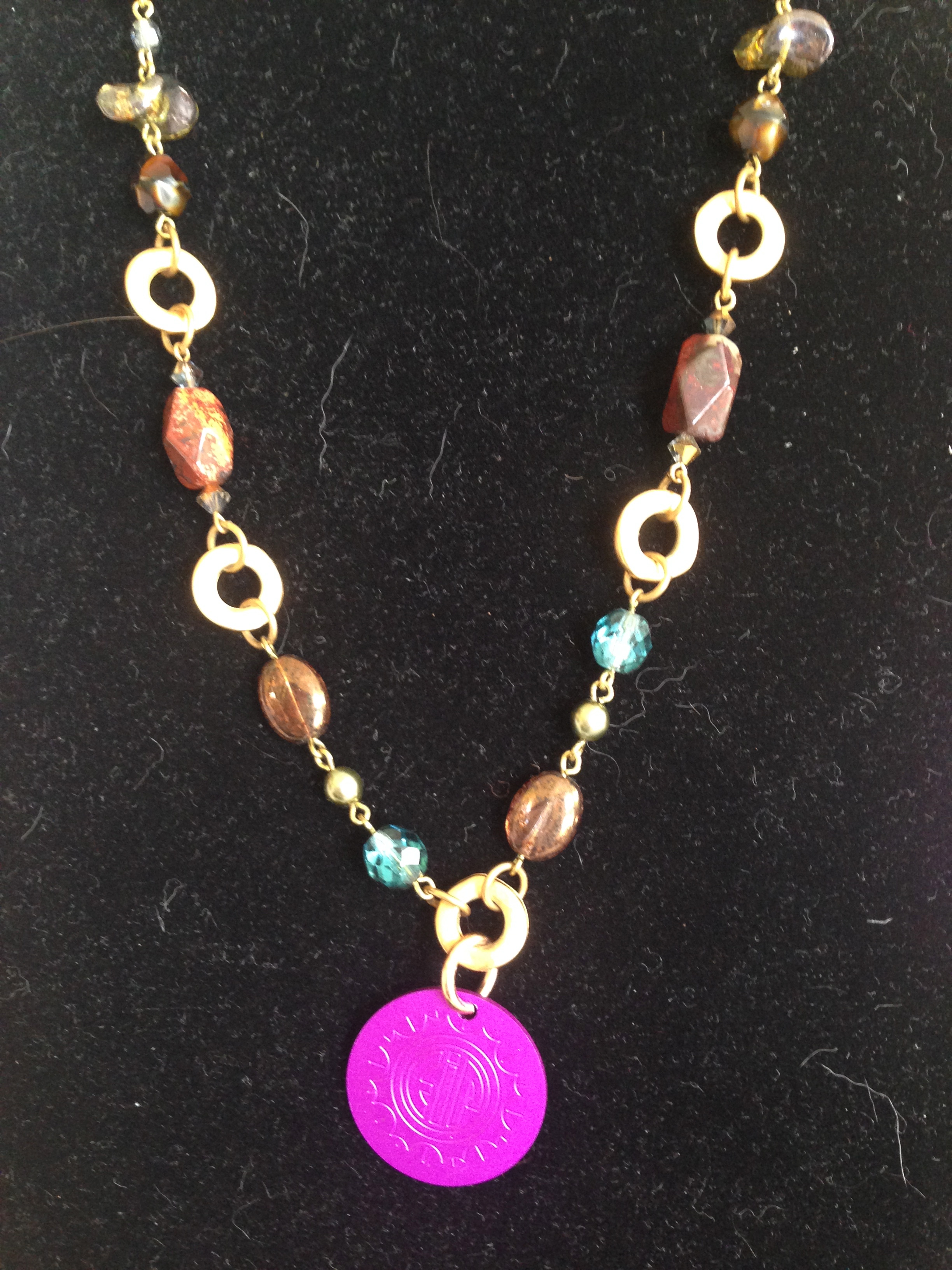 Crystal Beaded Necklace with Energy Disk