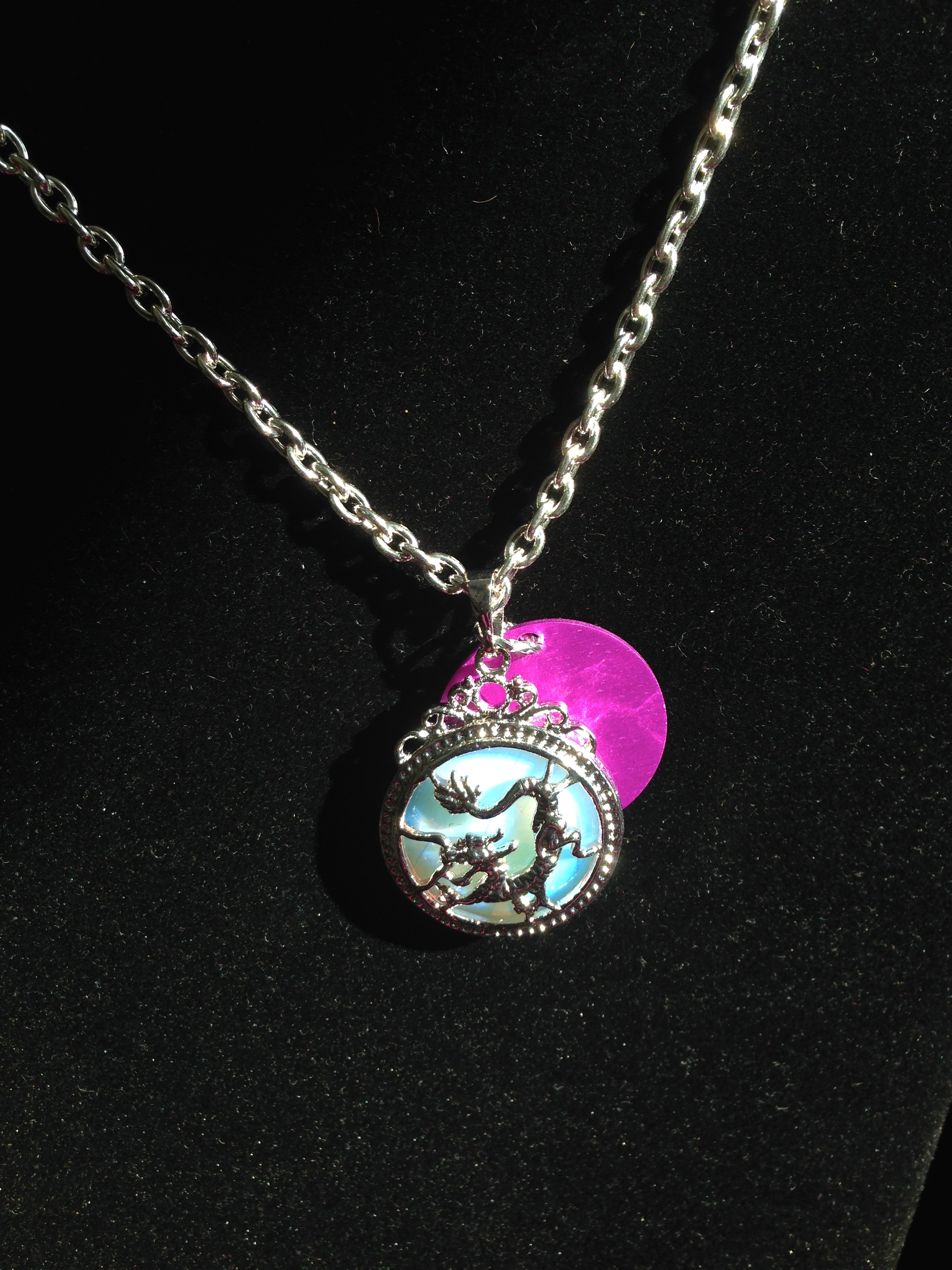 Dragon Opalite Necklace with Purple Energy Disk