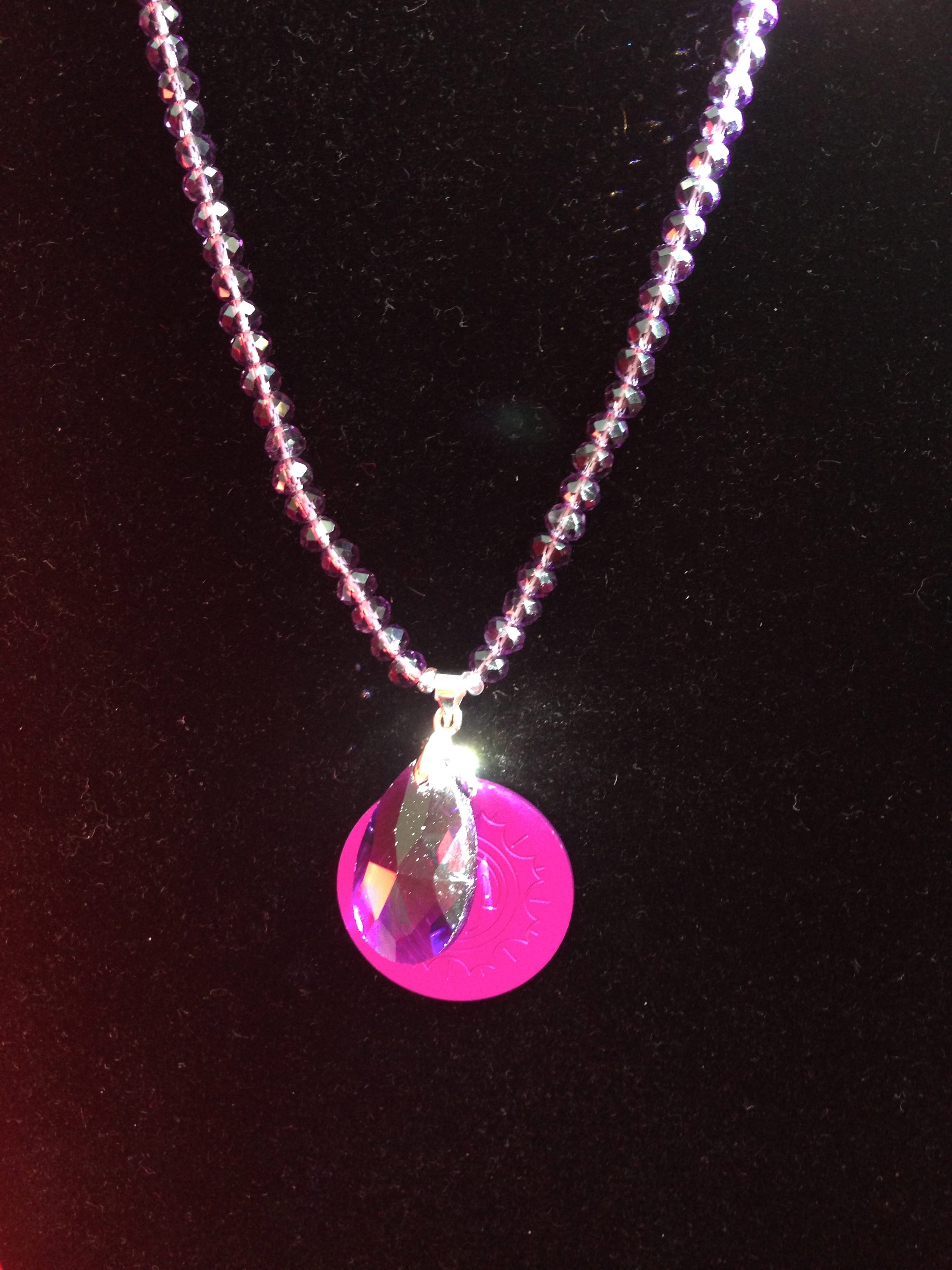 Purple Crystal Necklace & Pendant w/Energy Disk
