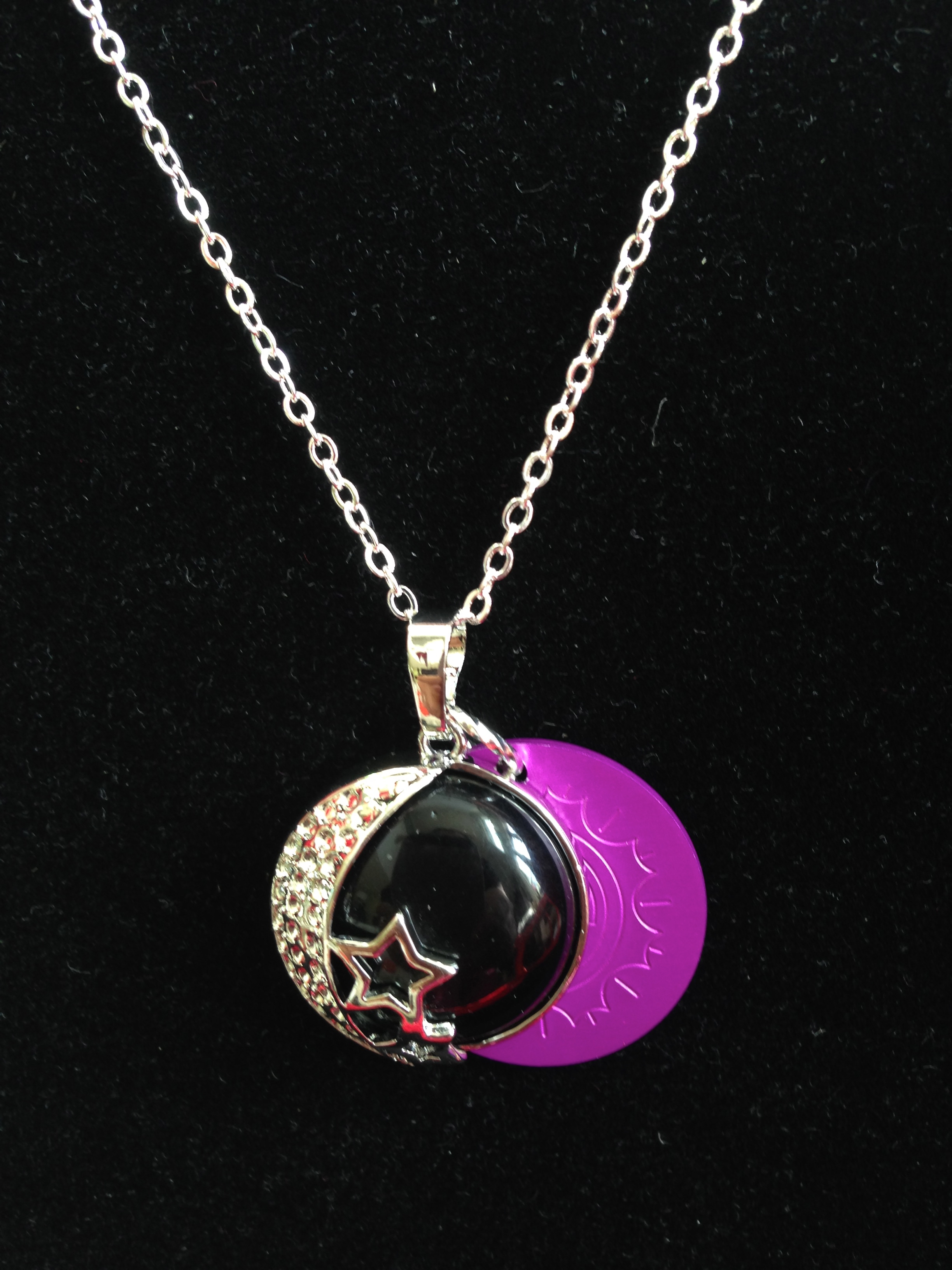 Black Moon & Stars with Energy Disk Necklace
