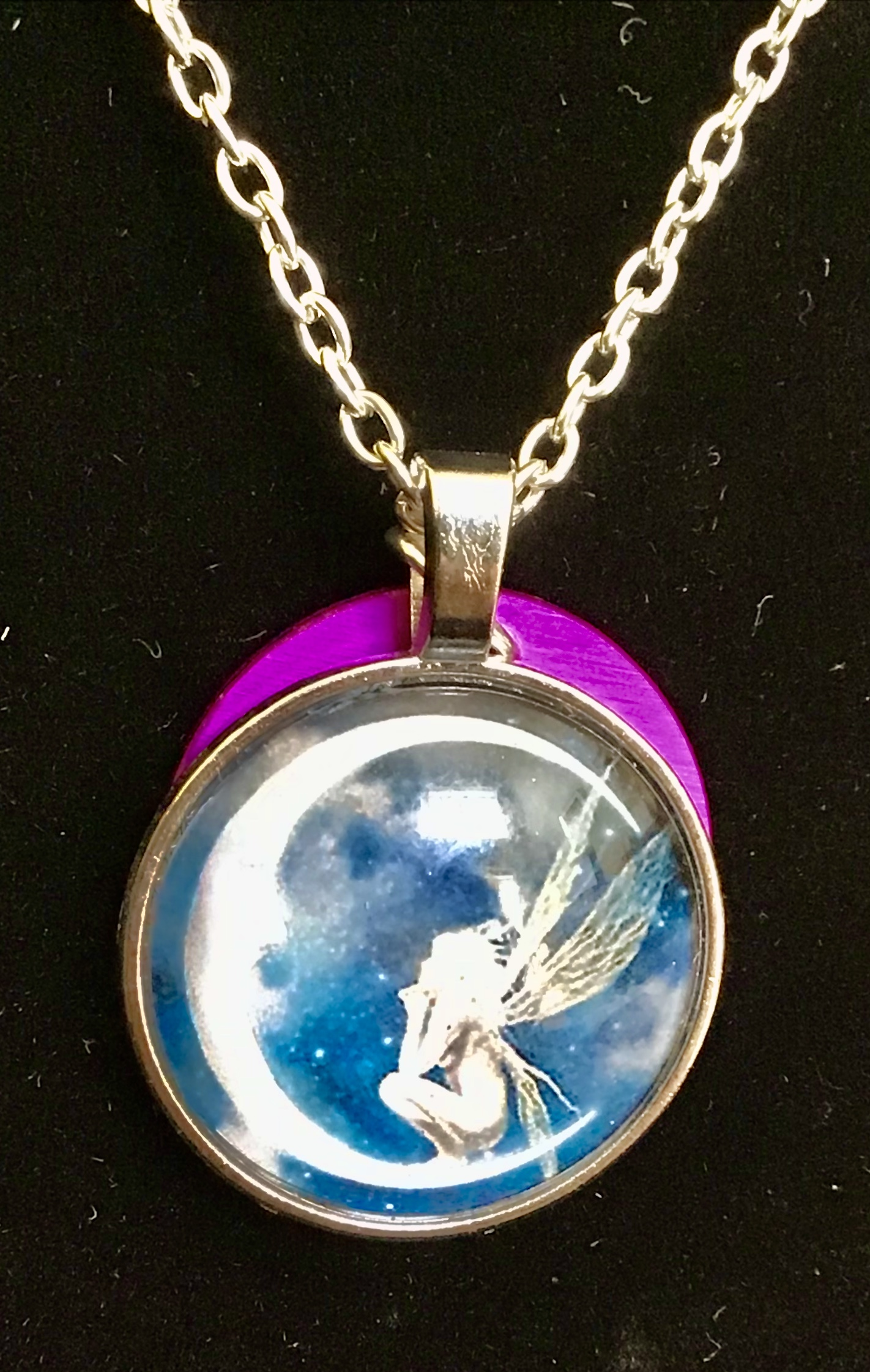 Fairy & Crescent Moon Necklace w/ Purple Energy Disk