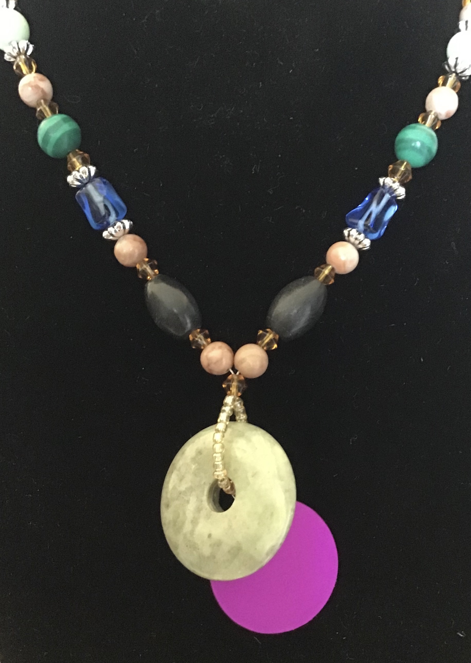 Multi Bead Necklace with Jade Disk & Purple Energy Disk