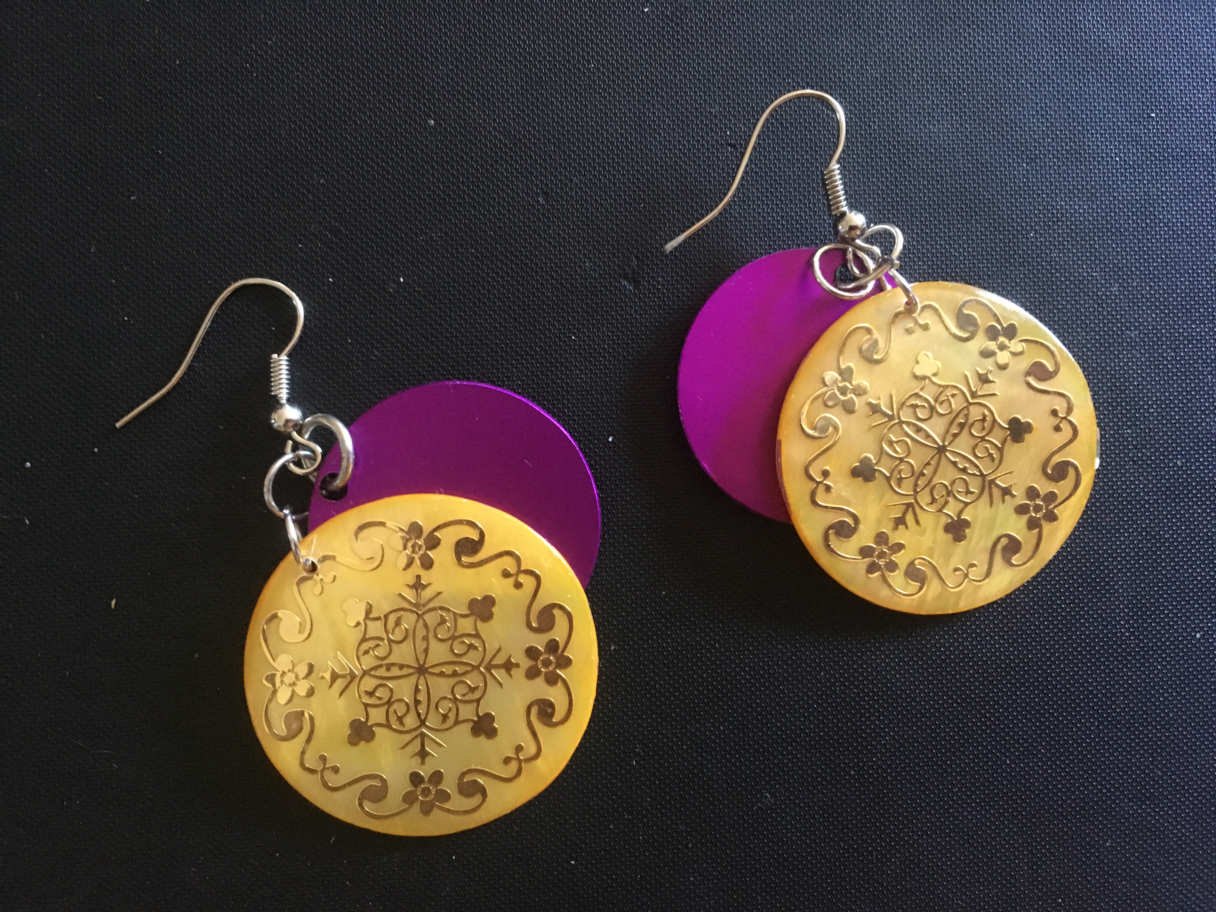 Round Yellow Shell w/Tesla Disks Earrings