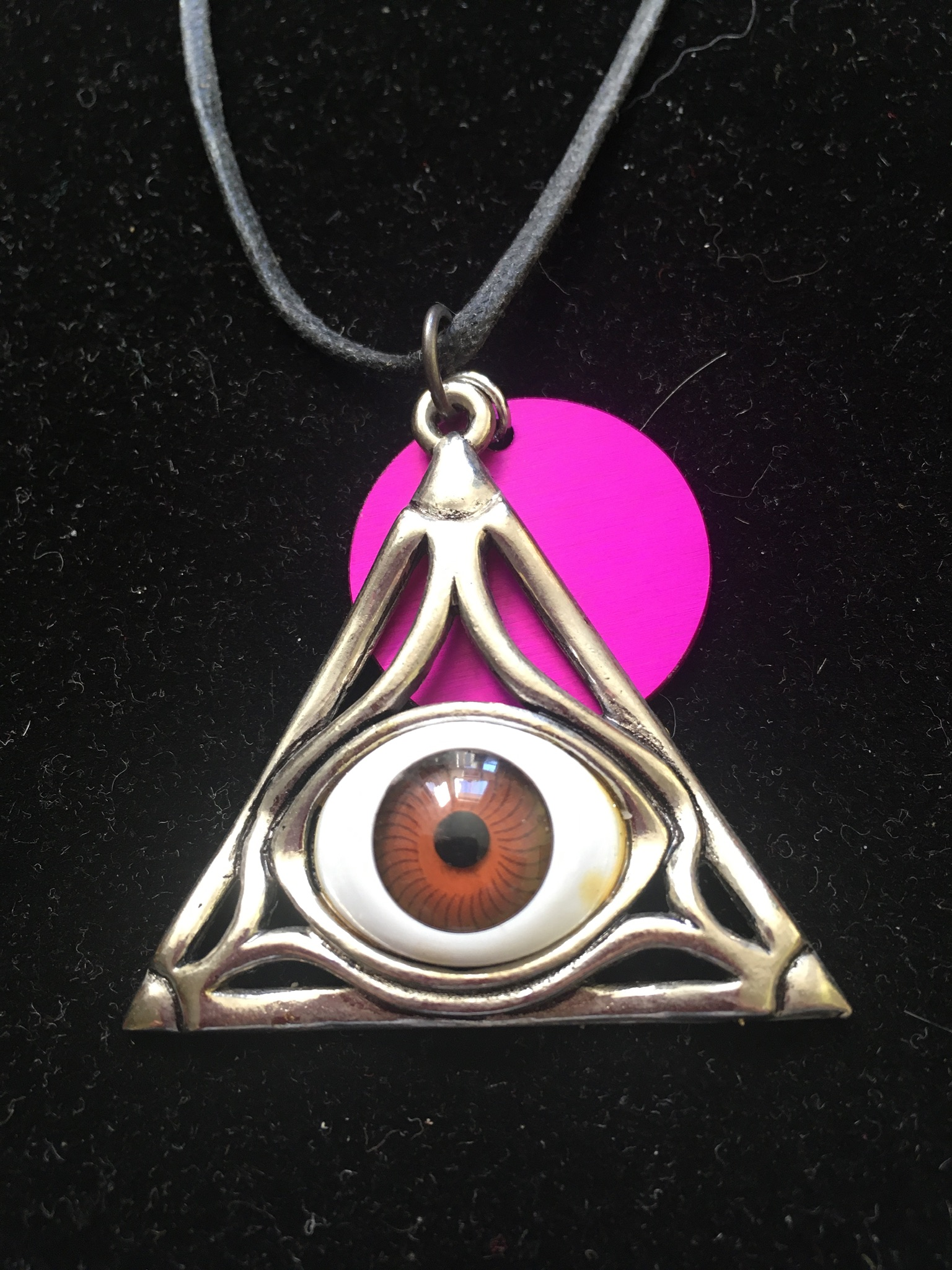 Magic Brown Eye Triangular pendant with Tesla Disk