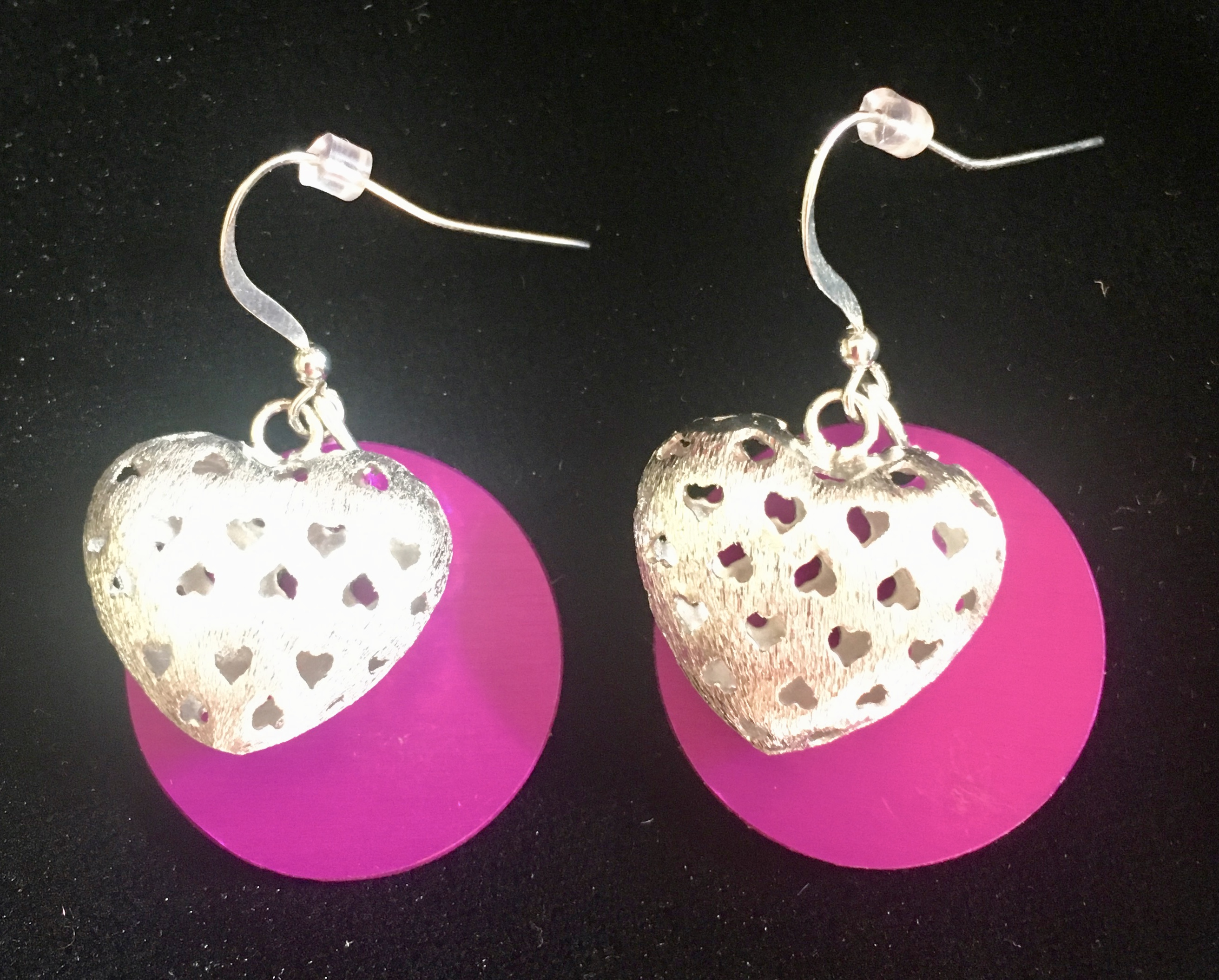 Silver Hearts and Purple Energy Disk Earrings