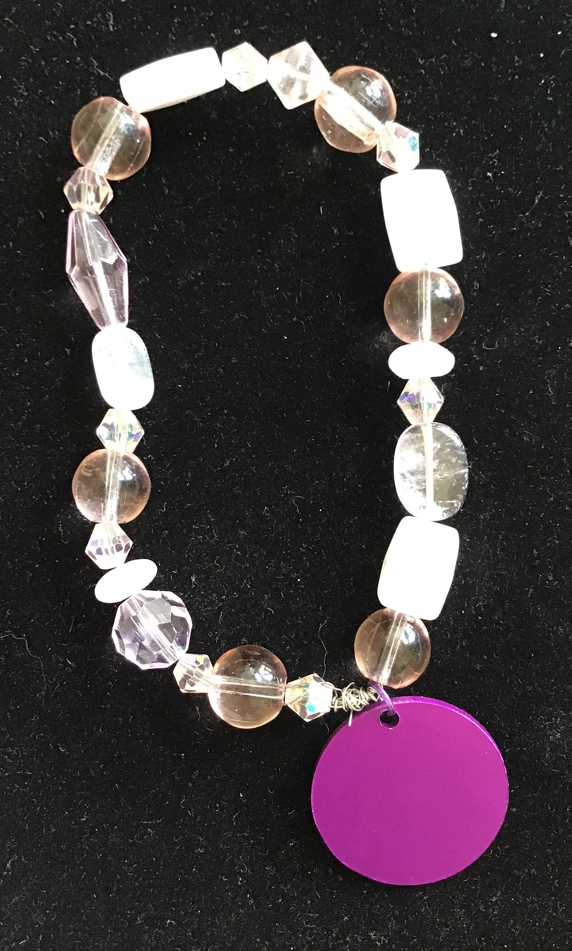 Pink Champagne Quartz and Beads, Energy disk