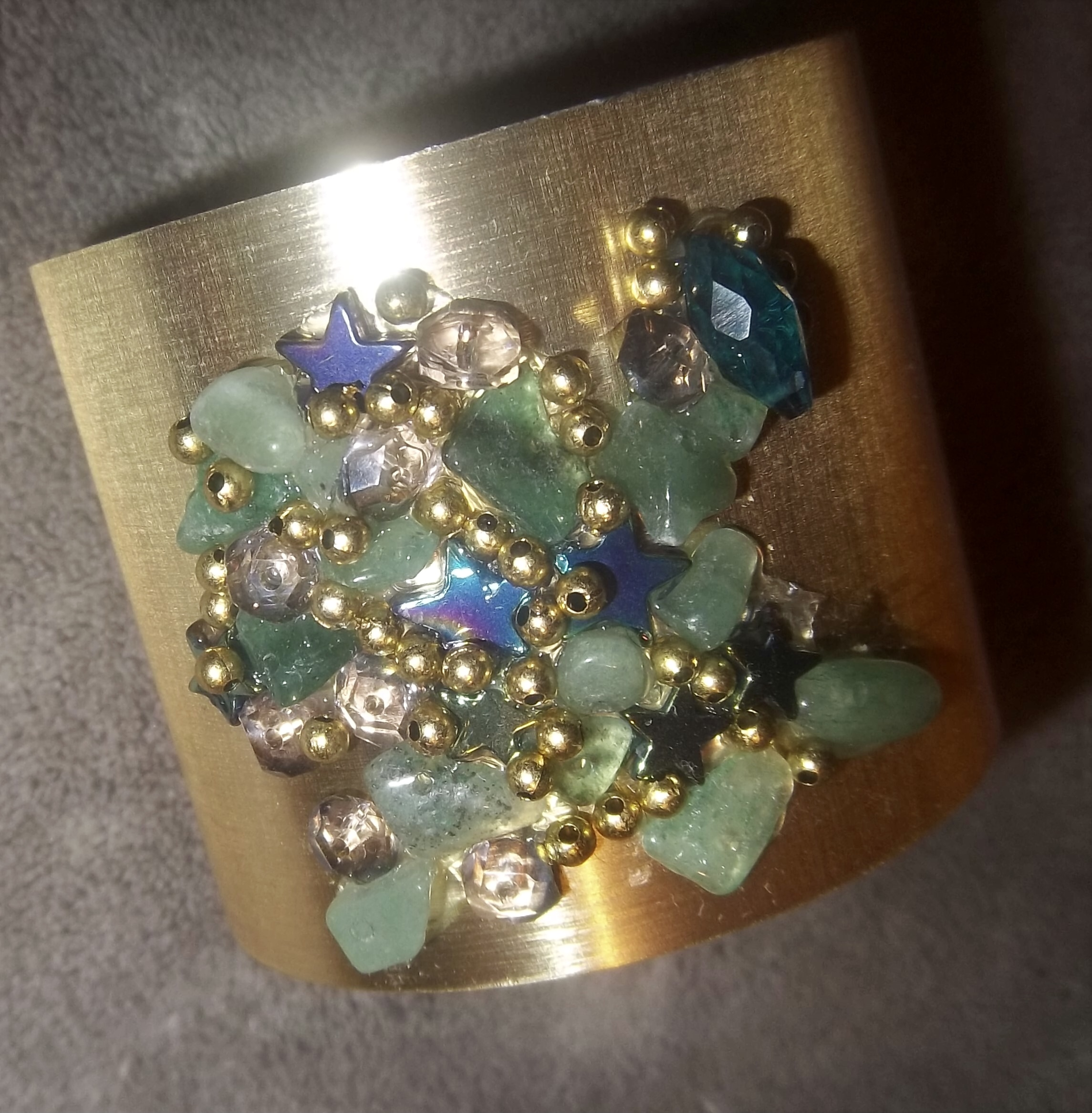 Gold Energy Cuff w/Aventurine & Jewels