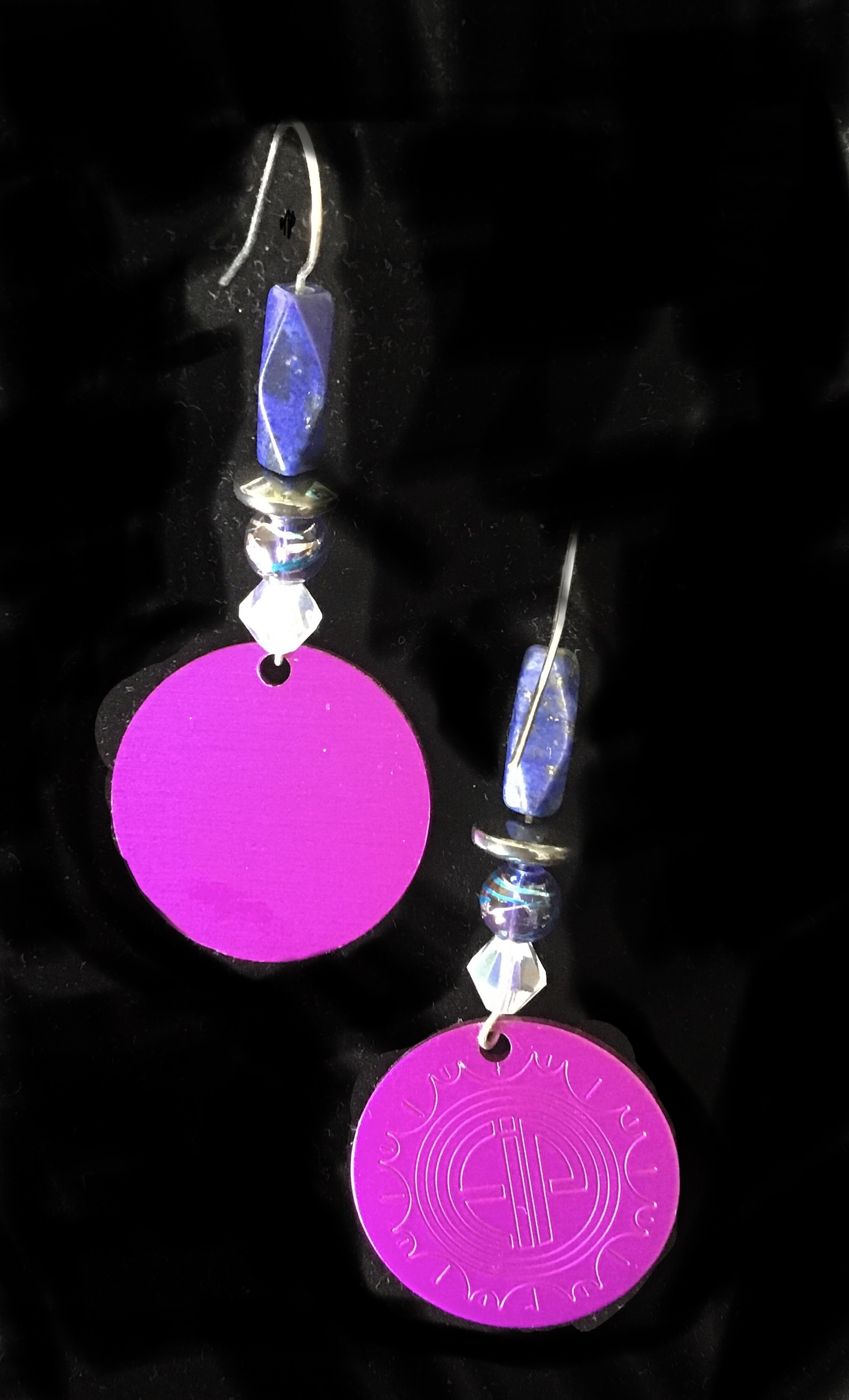 Energy Disks, Lapis, Crystal, Hematite Earrings