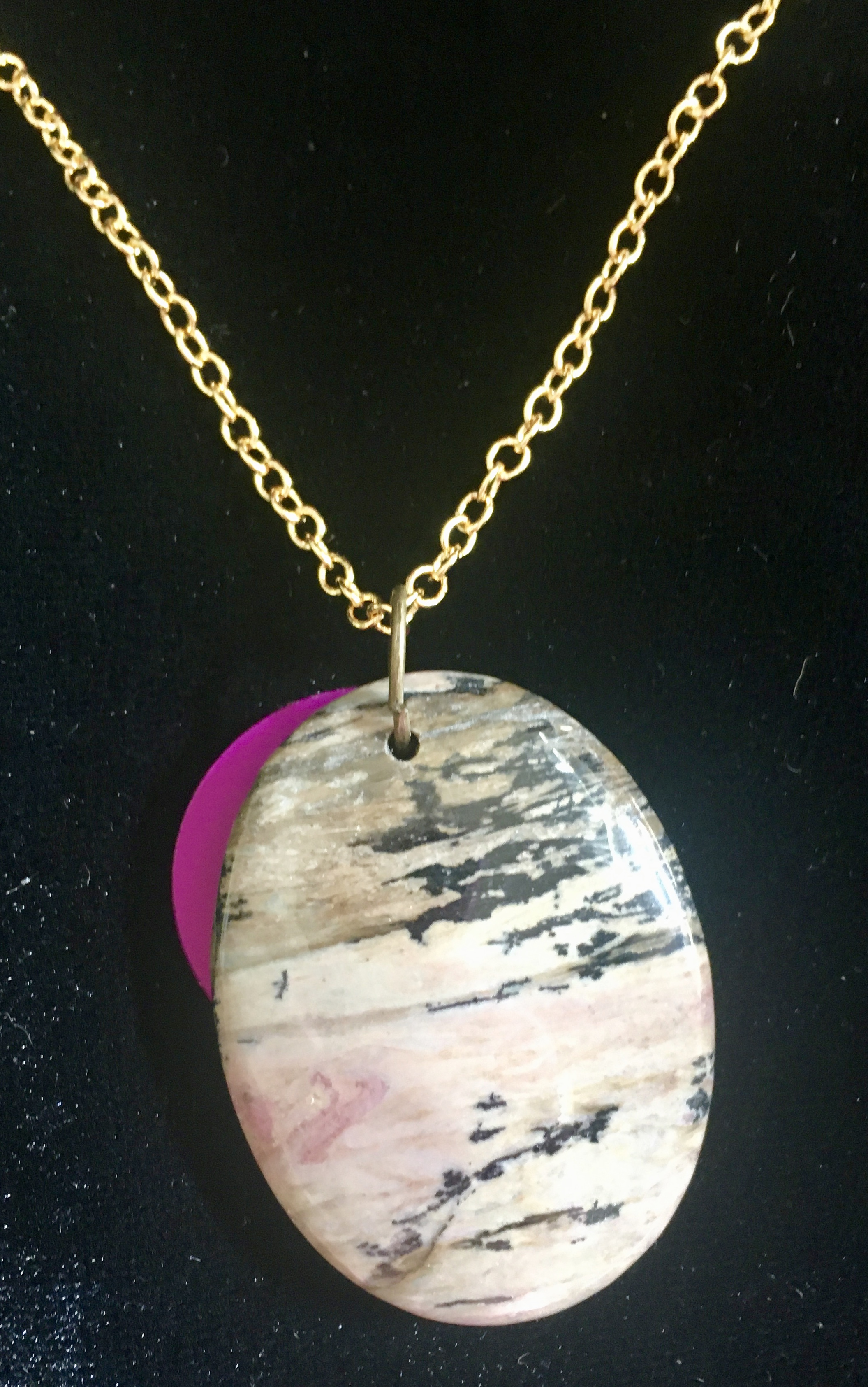 Oval Healing Rhodonite Necklace with Purple Disk