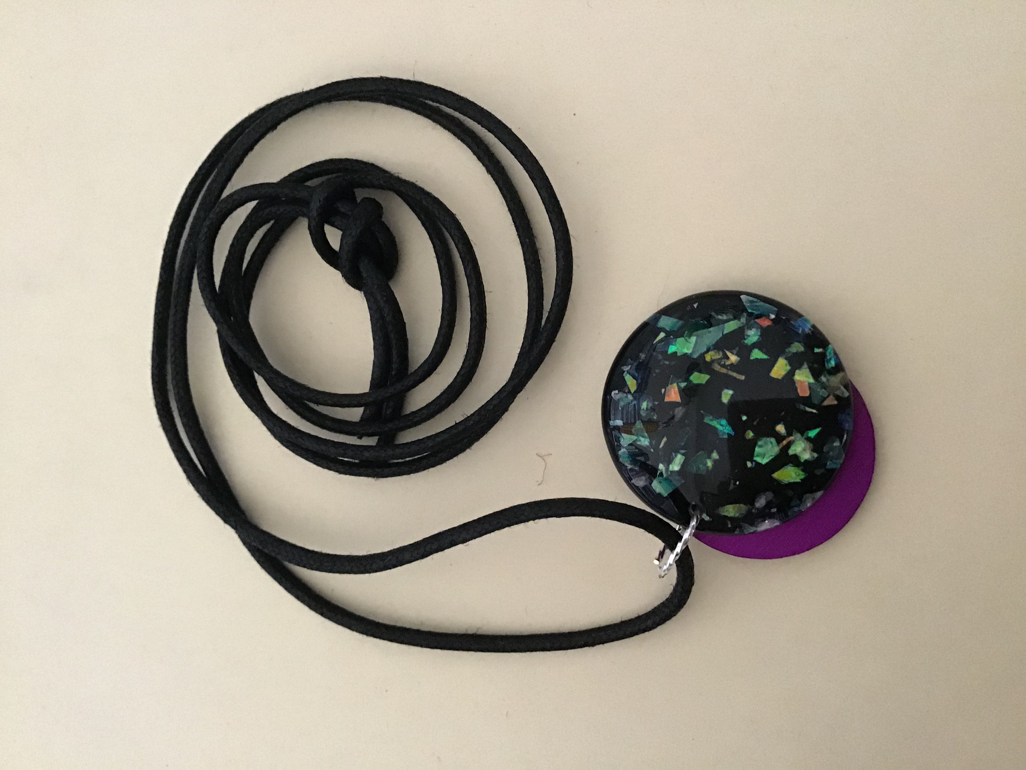 Starry Night Disk w/Tesla Energy Disk on Black Cord