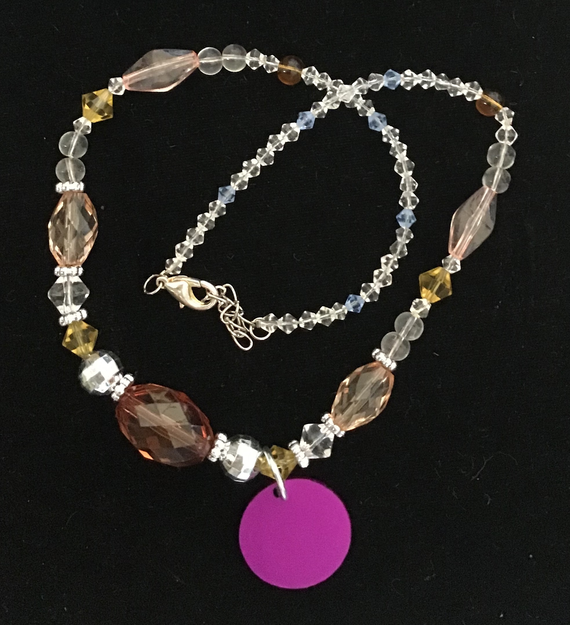 Crystal & Mix Bead Necklace w/Purple Energy Disk