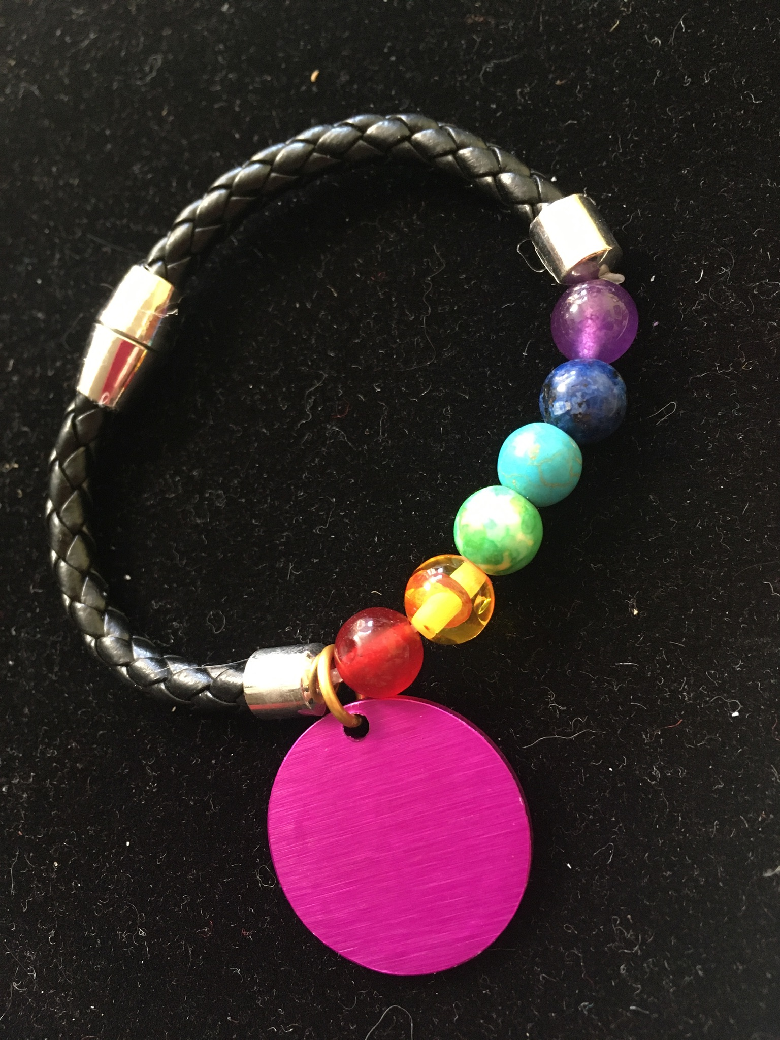Chakra Beads Braided Bracelet with energy disk