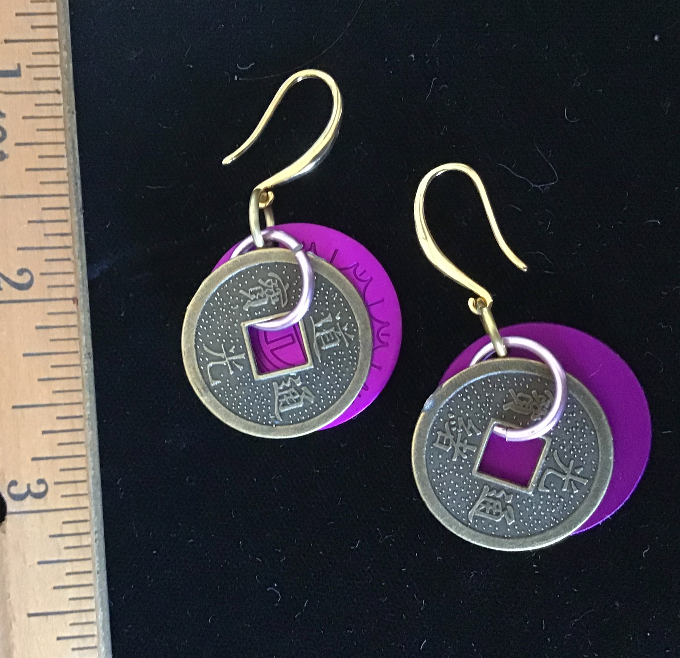 Lucky I Ching Earrings with Purple Disks
