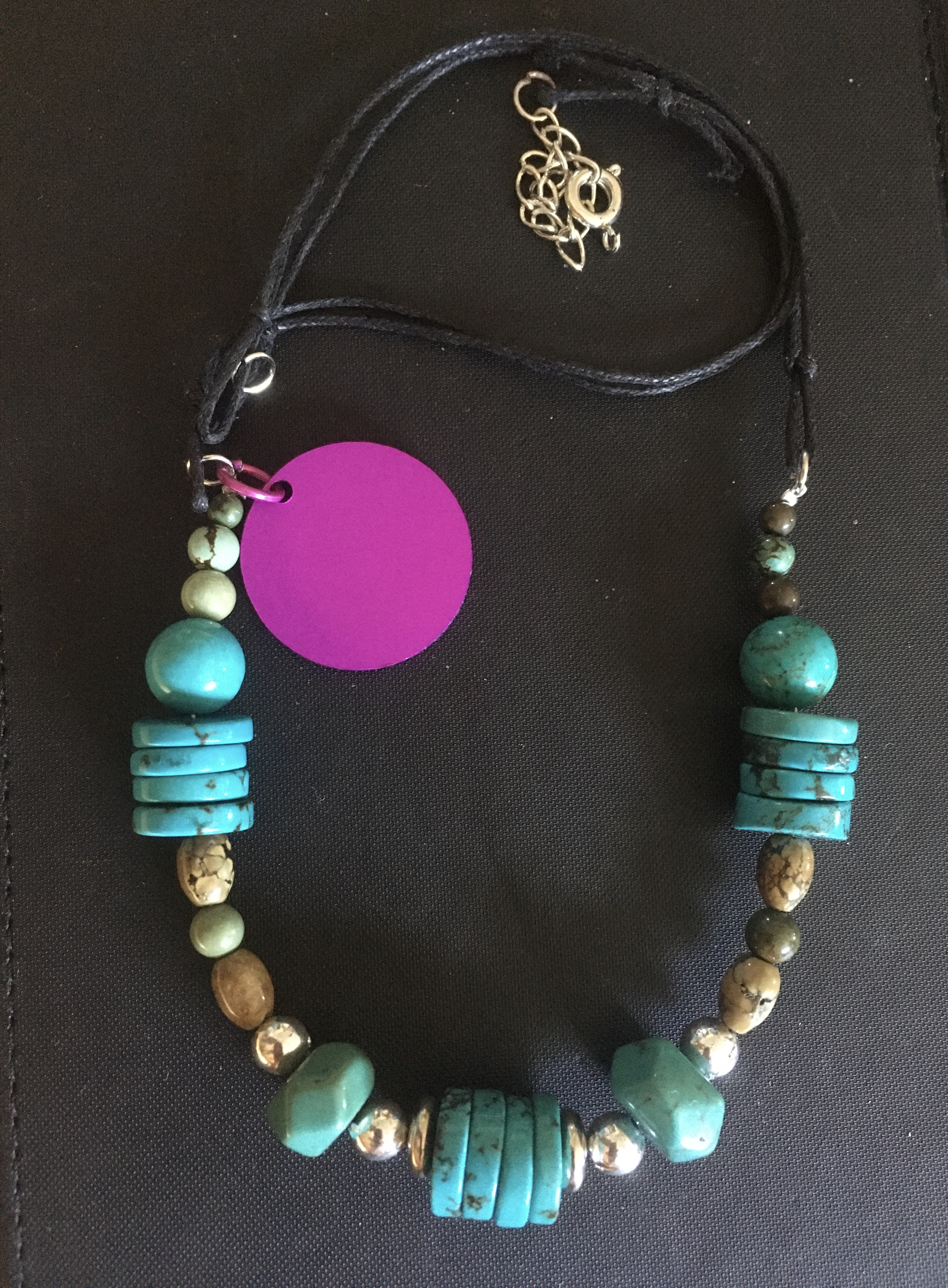 Turquoise Boho Bead Necklace with Energy Disk