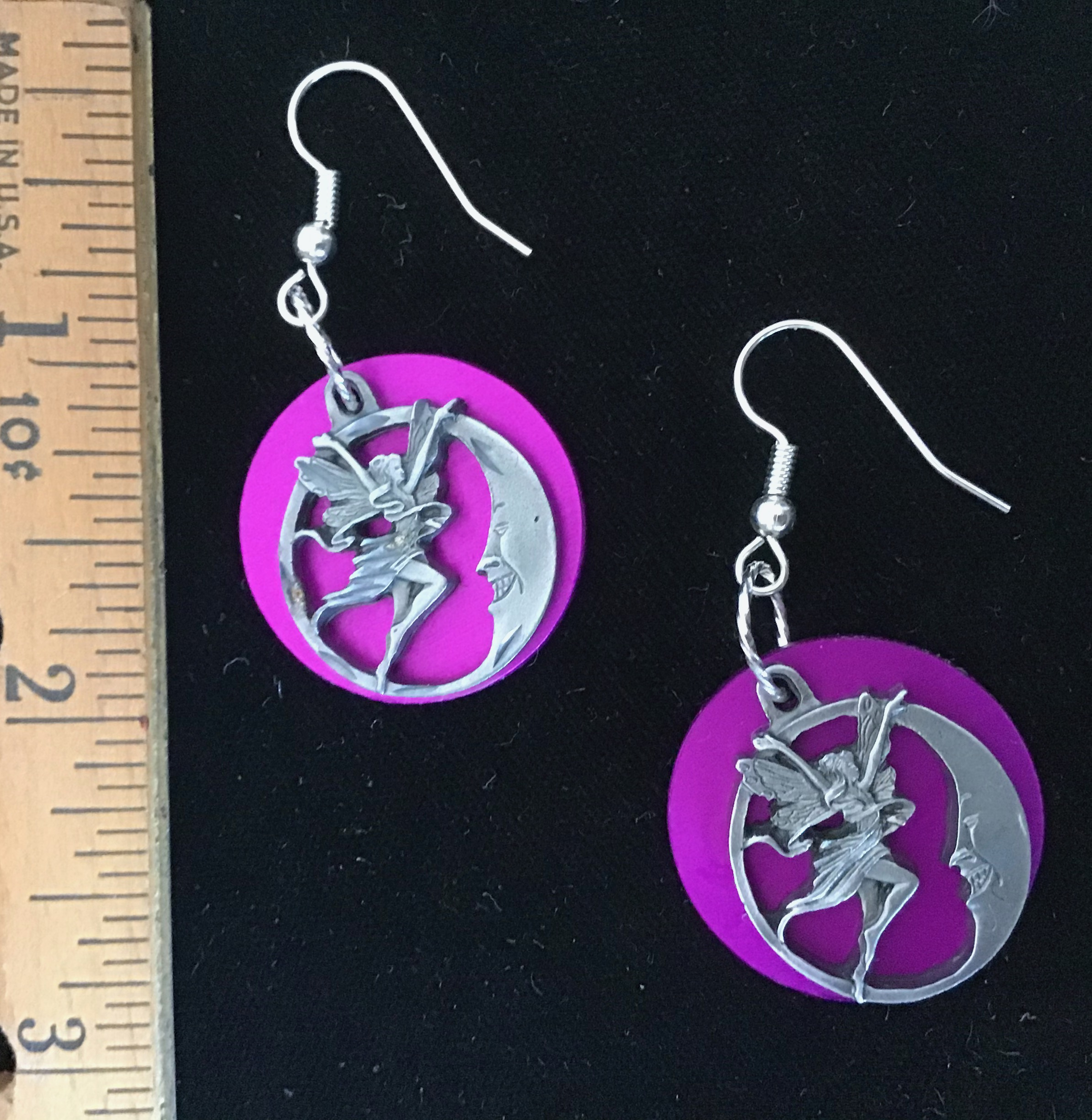 Fairy Moon with Purple Energy Disk Earrings