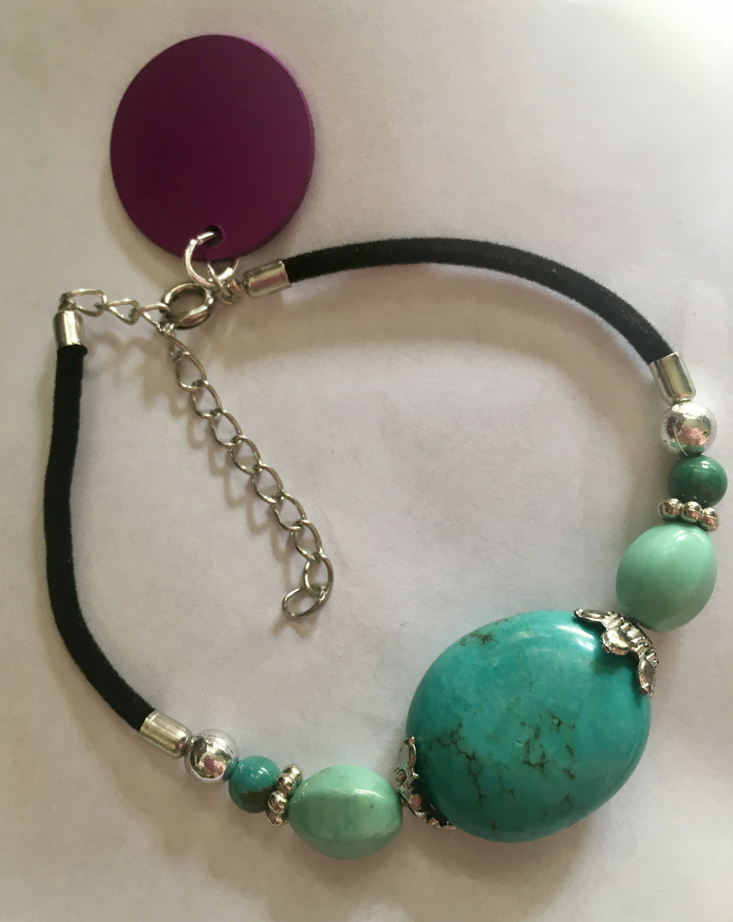 Large Turquoise Stone on Cord w/Energy Disk