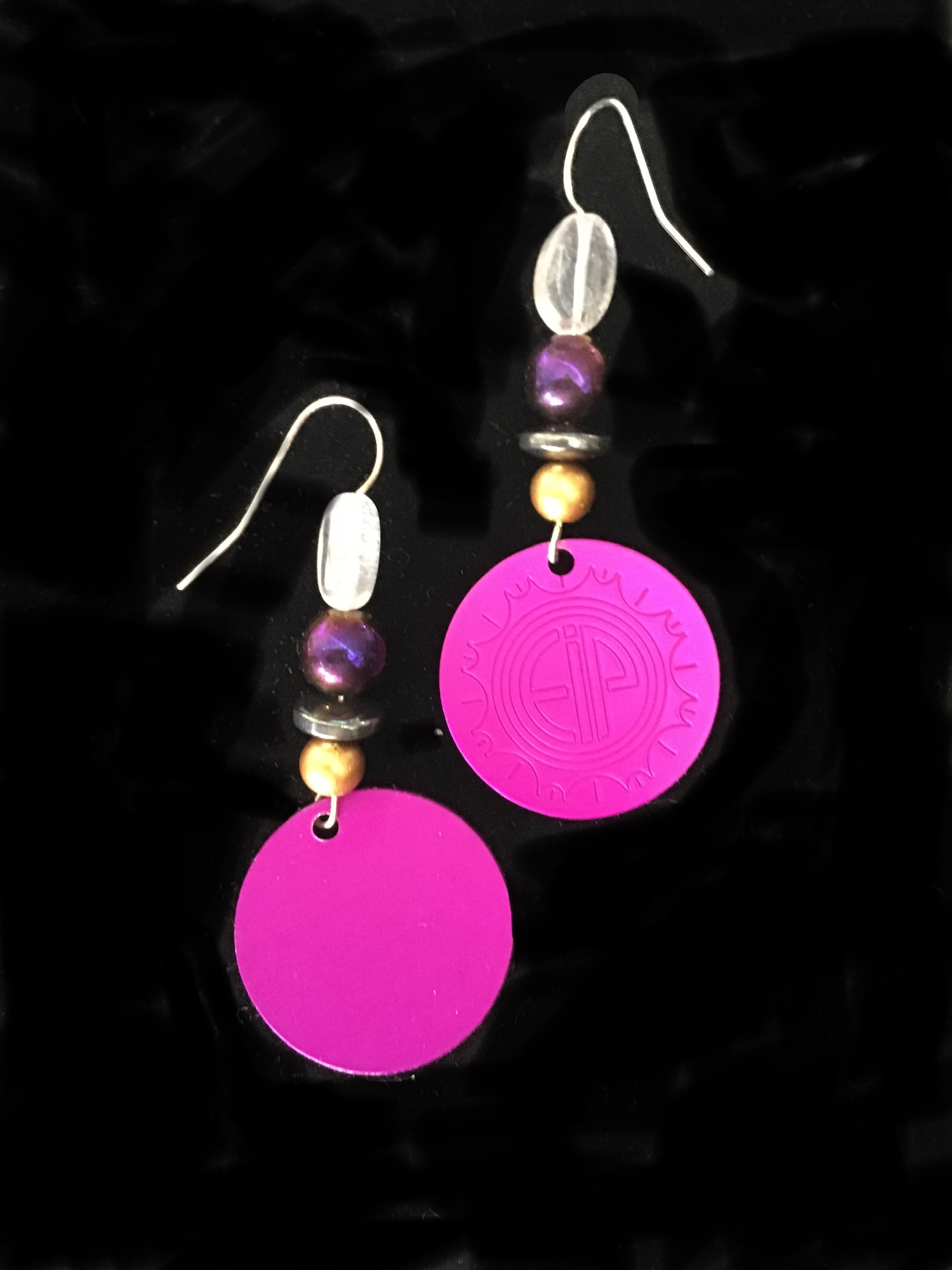 Energy Disks w/crystal and hematite bead earrings