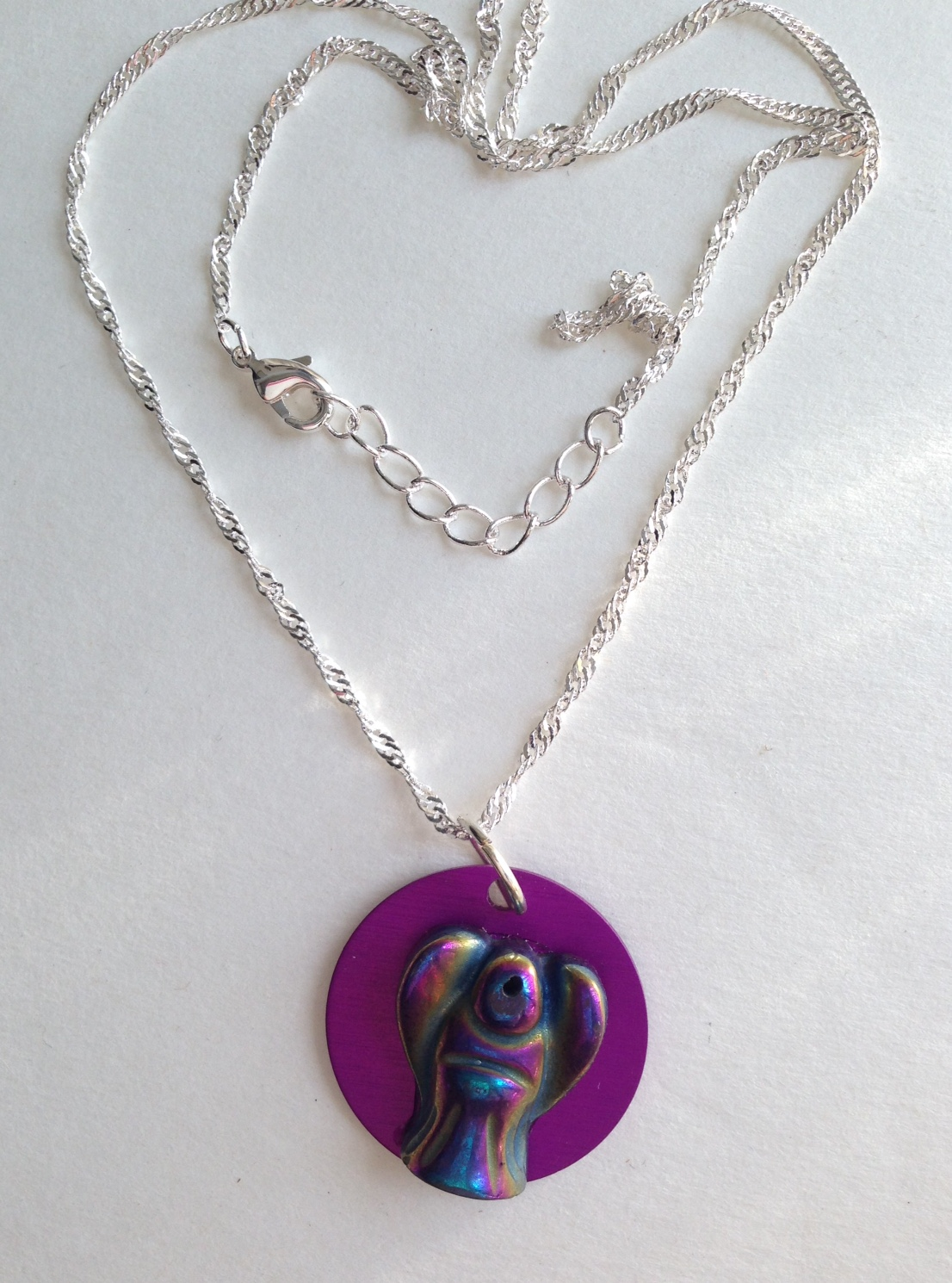 SALE! Rainbow Pyrite Angel Figure Necklace w/Purple Disk