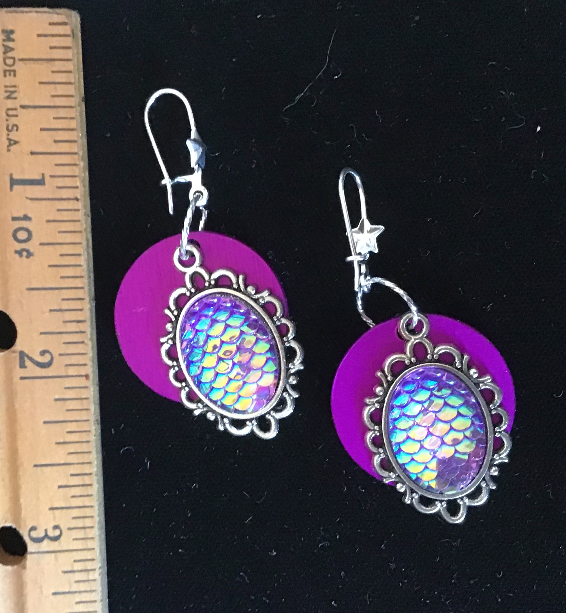 Mermaid Earrings w/Purple Energy Disks