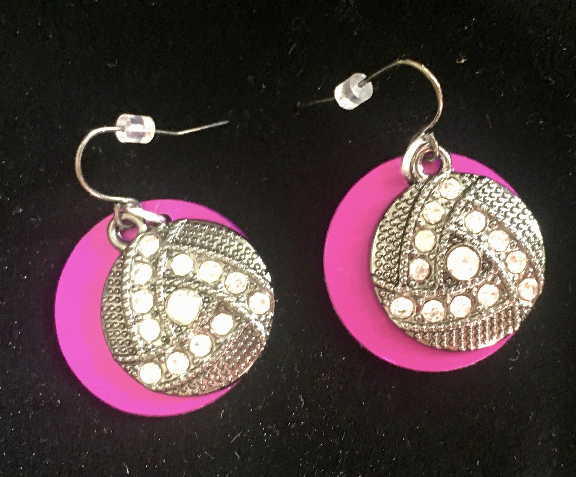 Rhinestone-Studded Earrings with Purple Disk