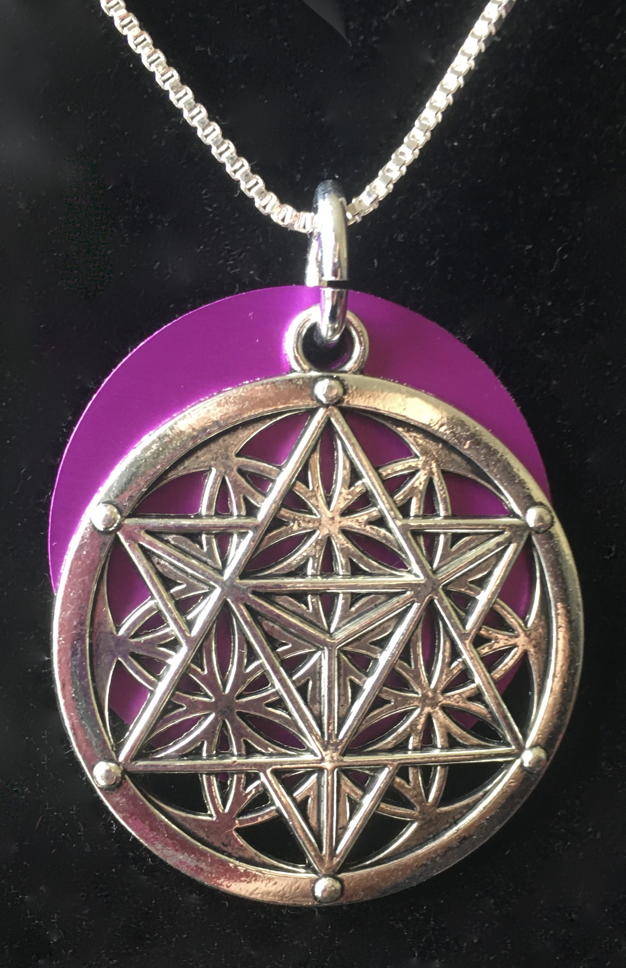 Mystical Flower of Life Necklace w/Large Disk