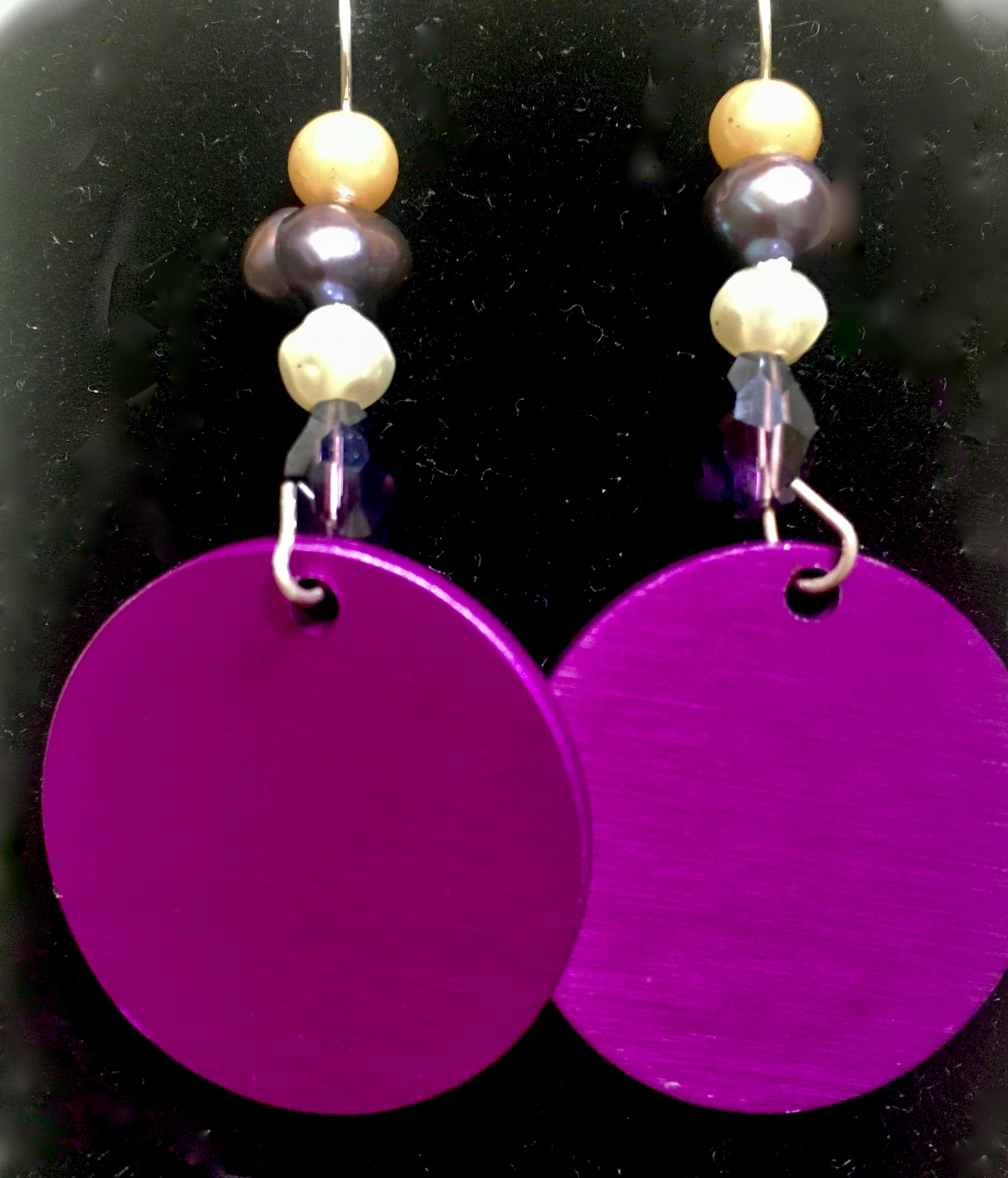 Energy Disk Earrings #2 Pearls, etc.
