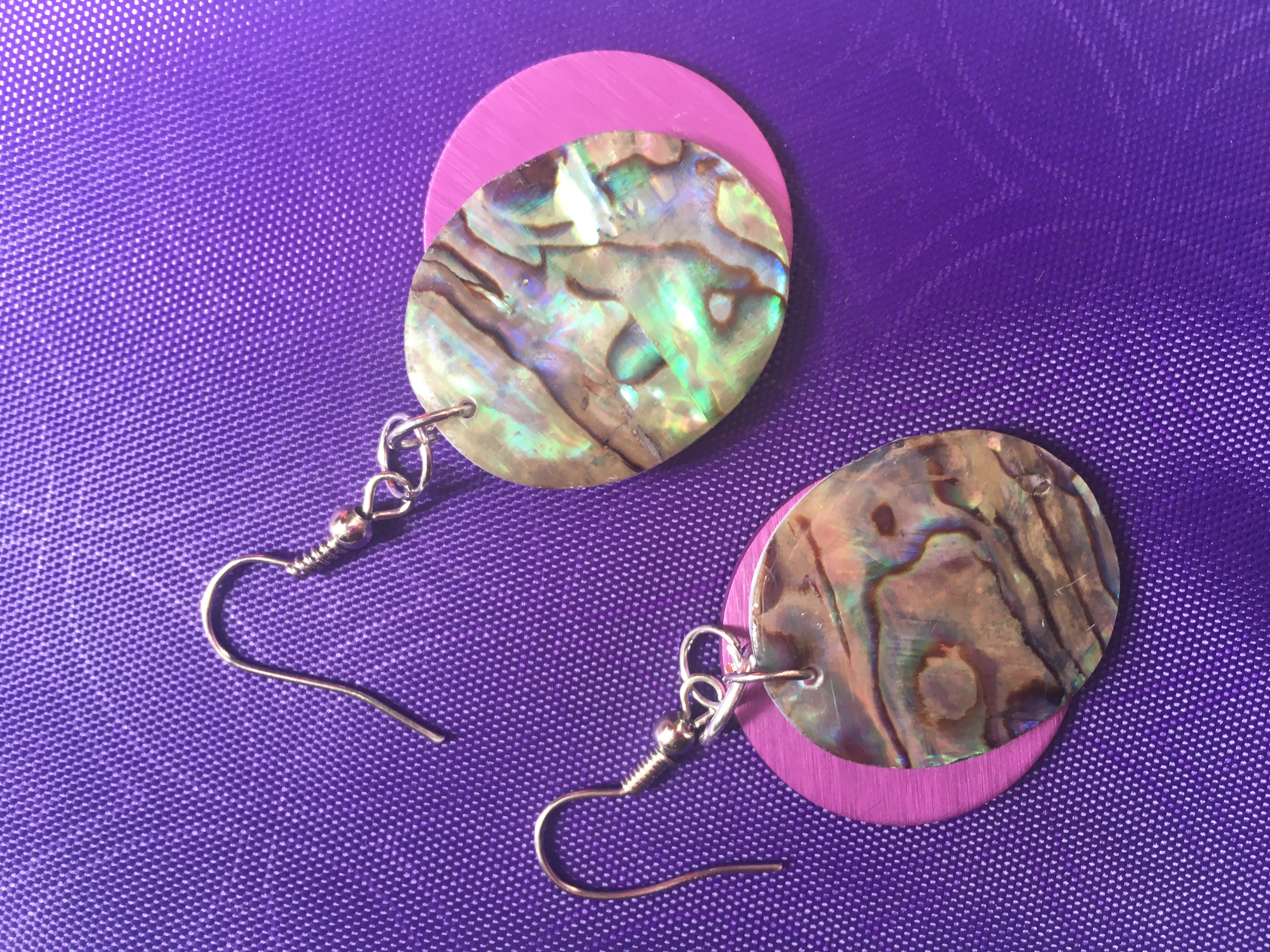 Oval Abalone Shell and Energy Disk Earrings