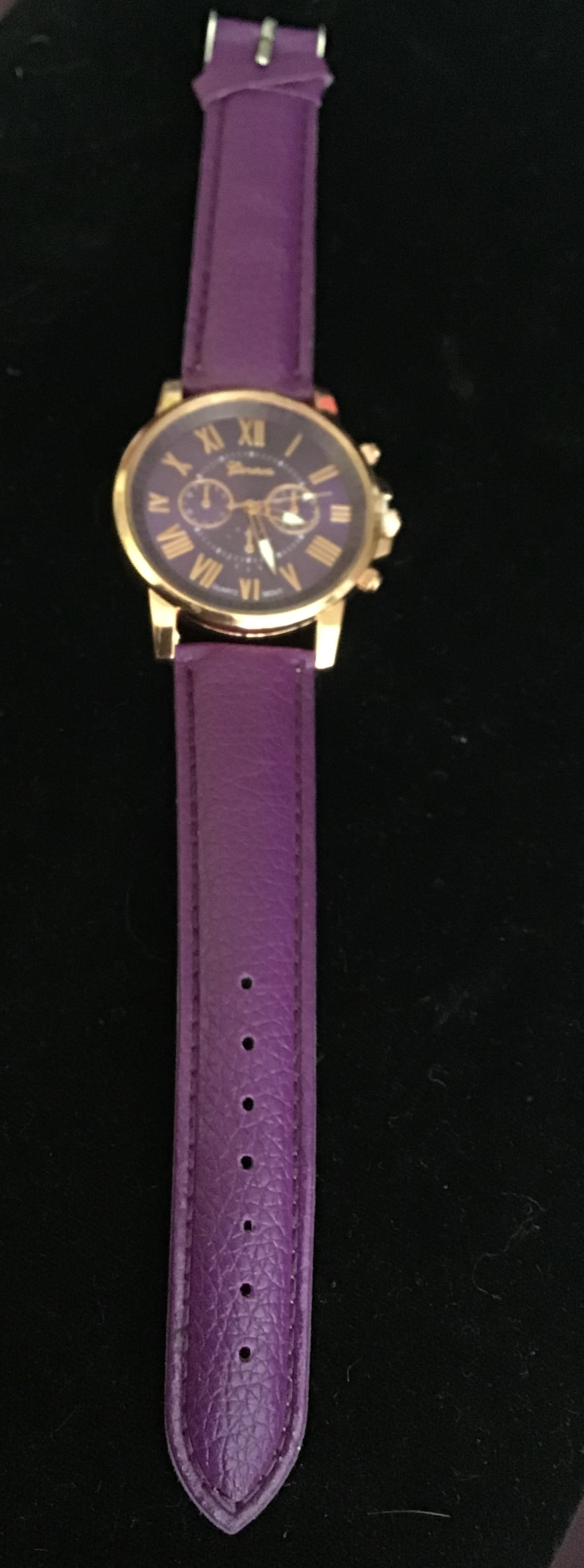 Purple & Rose Gold Face Watch with Purple Strap and Disk