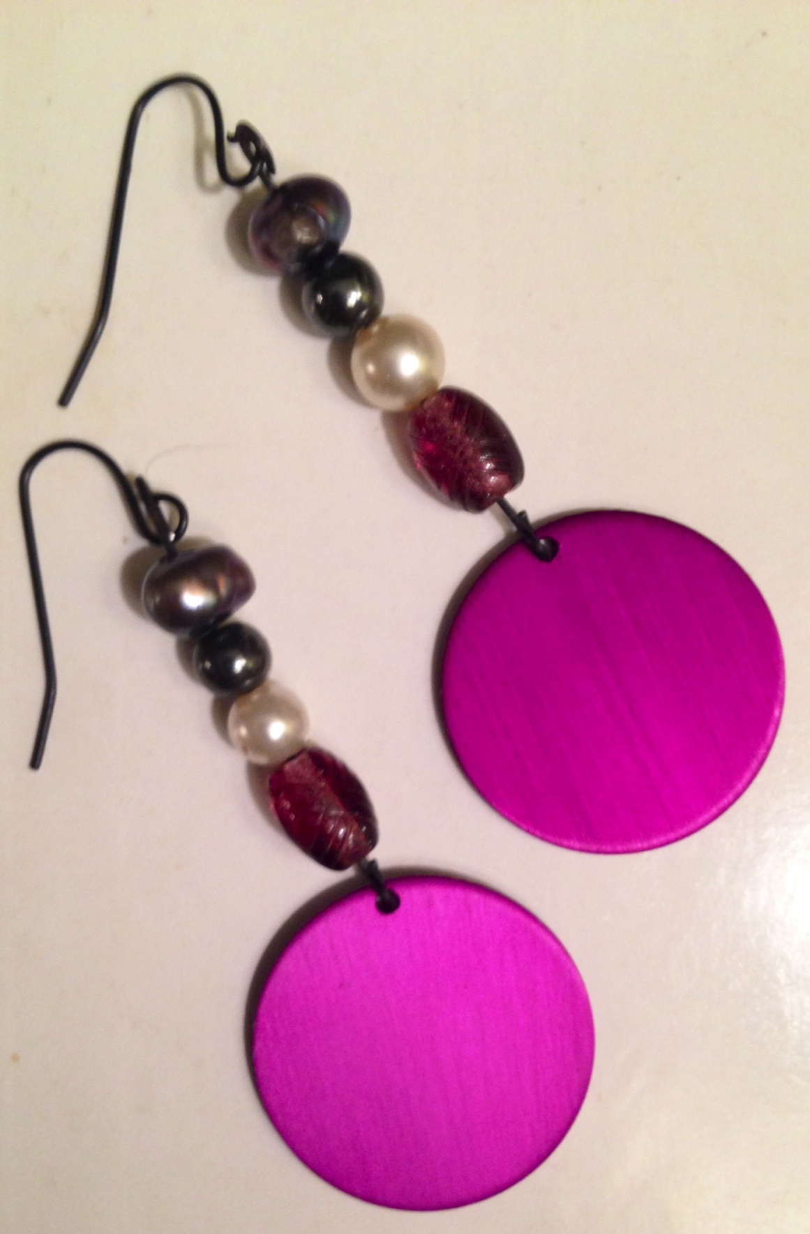 NEW! ENERGY DISK EARRINGS w/PEARLS, HEMATITE, GLASS BEADS