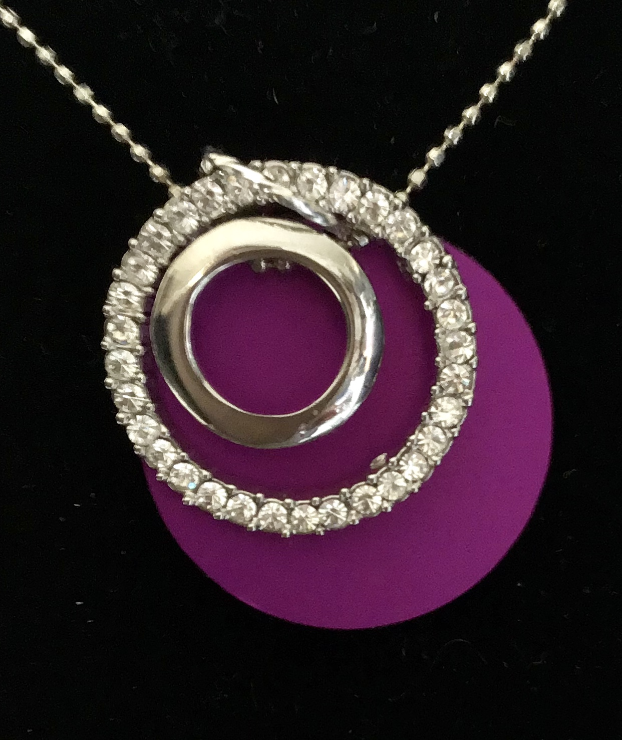 Sparkling Circle w/Energy Disk Necklace