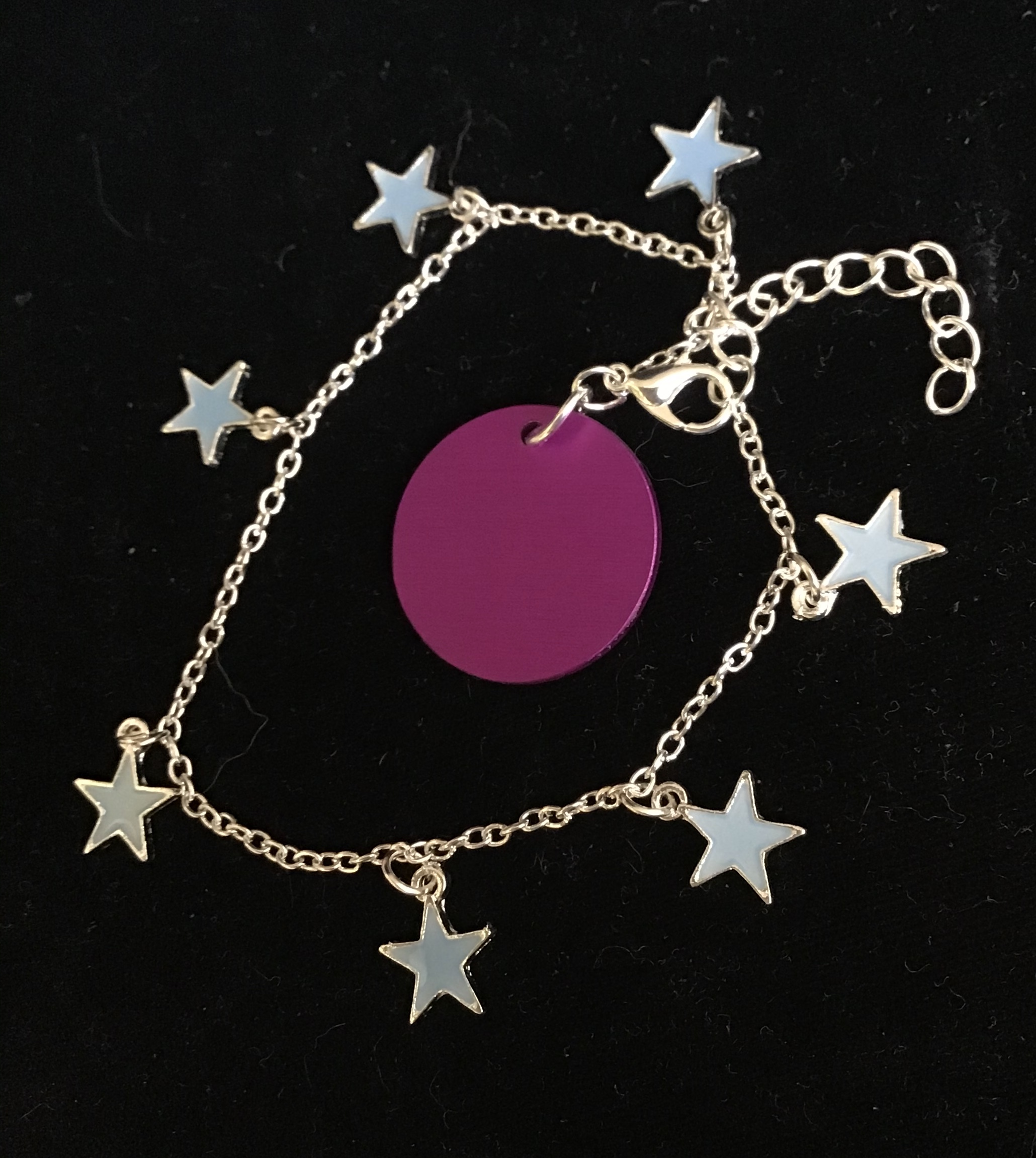 Blue Star Bracelet (or anklet) with Purple Disk
