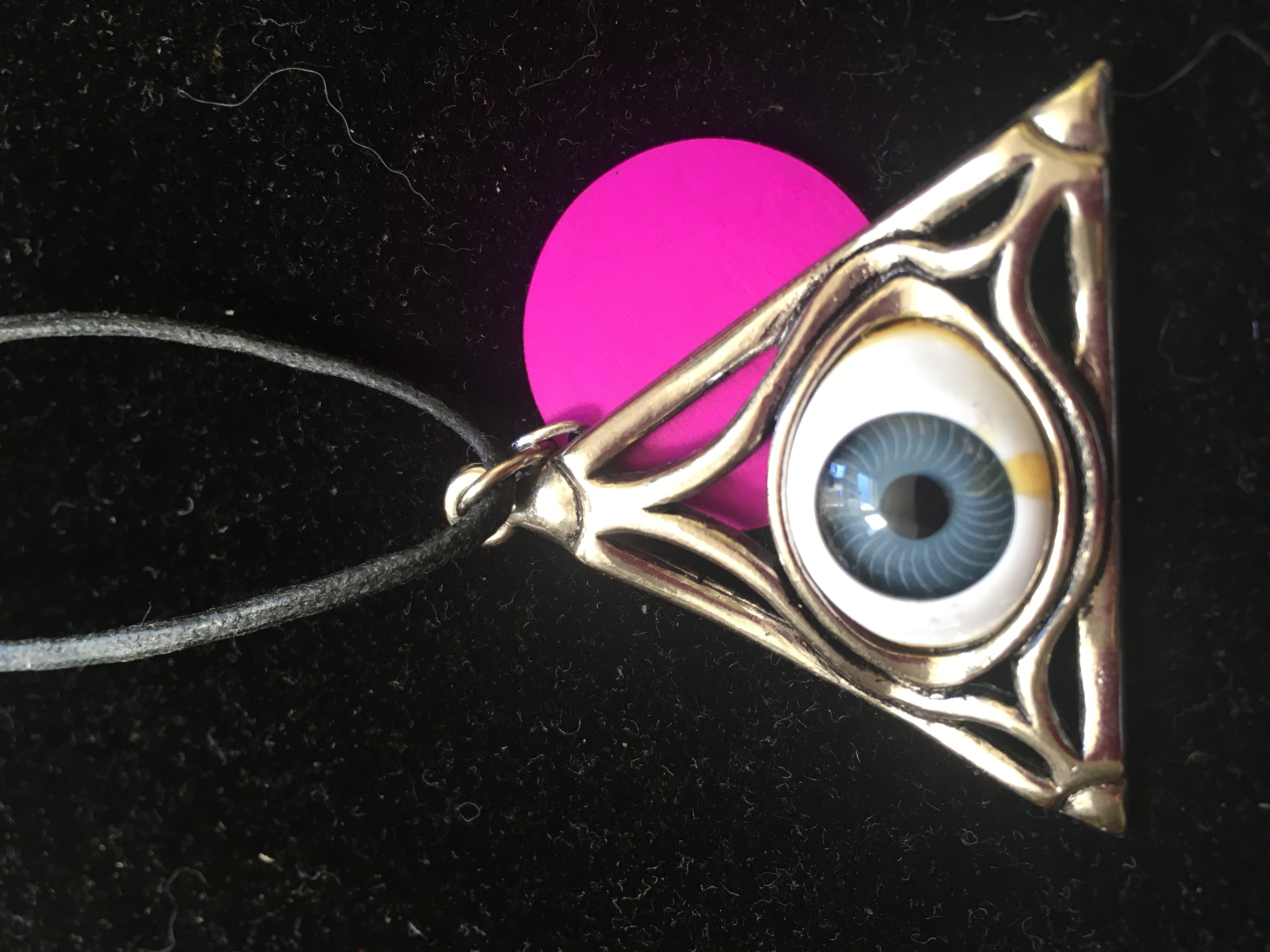 Magic Blue Eye in Triangle Pendant w/Energy Disk