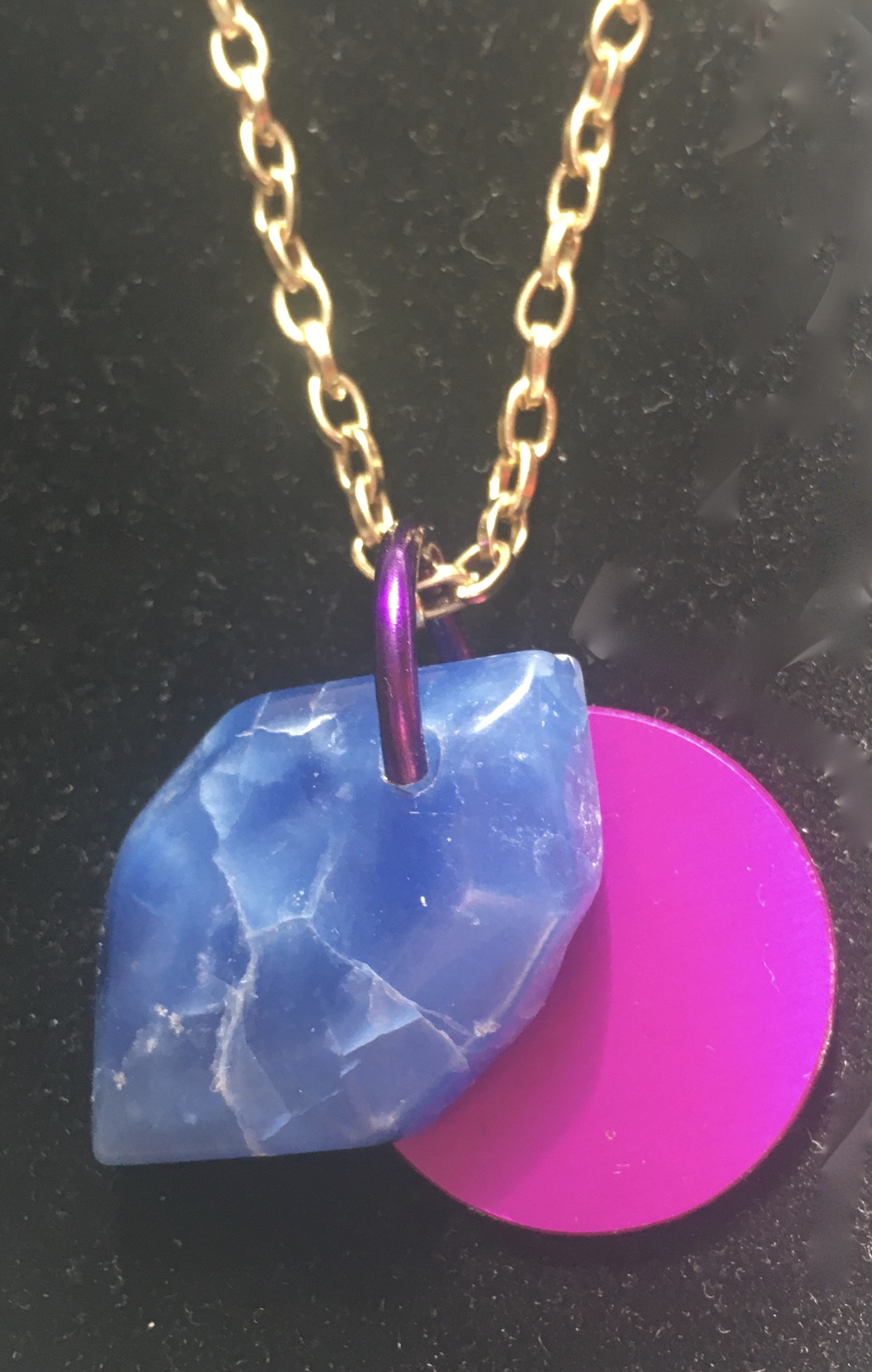 Blueberry Quartz w/Tesla Disk Necklace