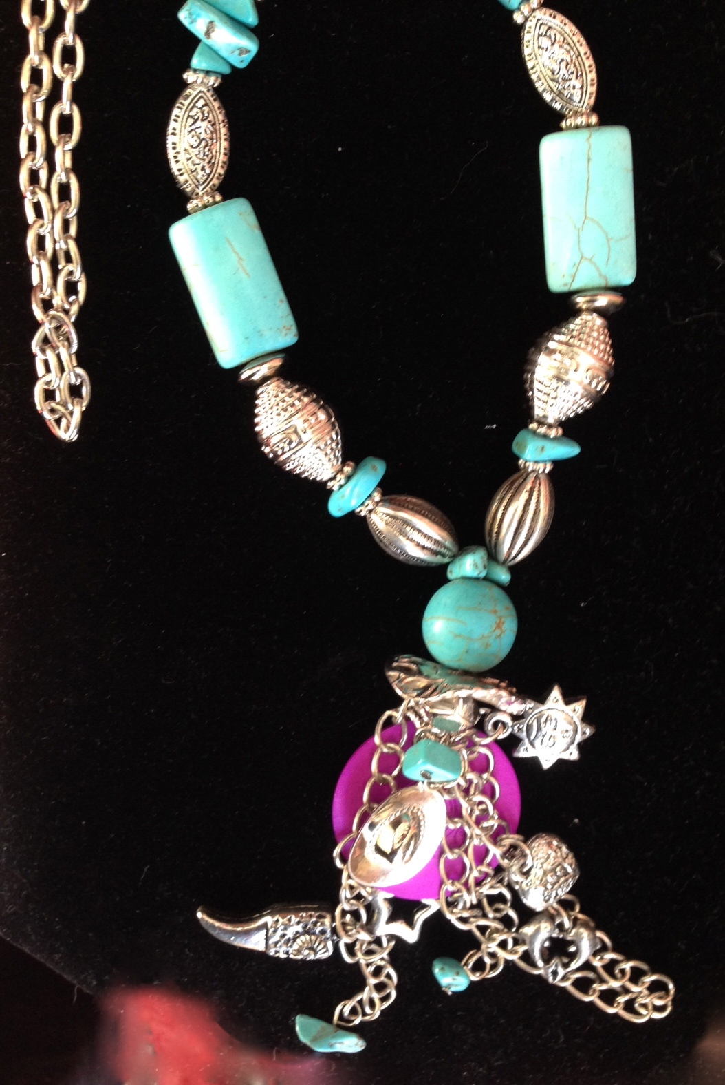 Blue Magnesite and Charms Necklace with Energy Disk