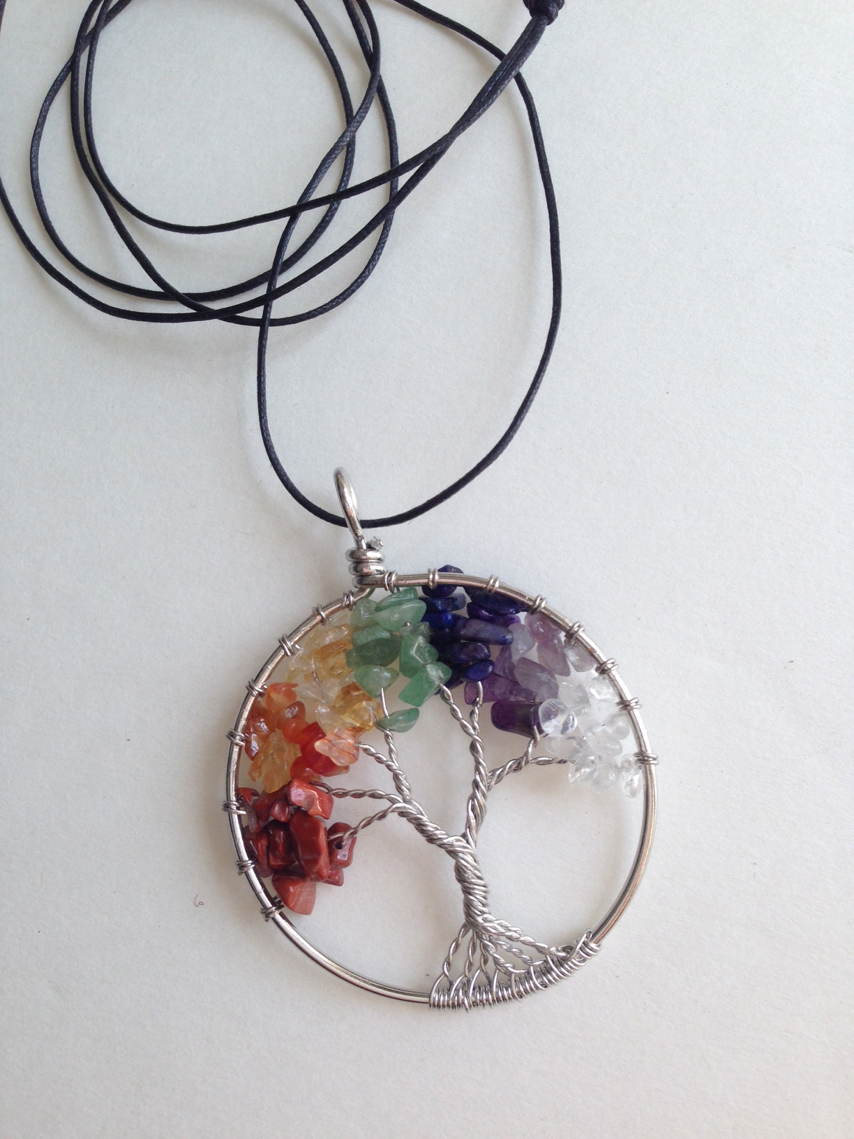 Chakra Colors Tree of Life with Purple Energy Disk Pendant