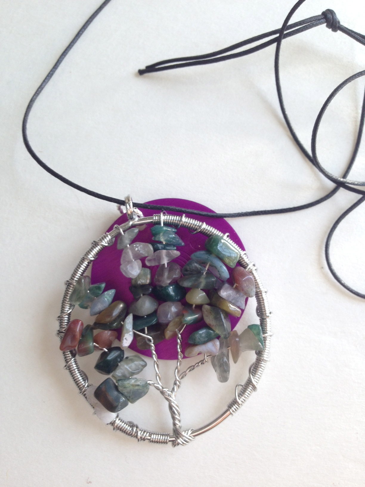 Multi-Stone Tree of Life Pendant with Disk