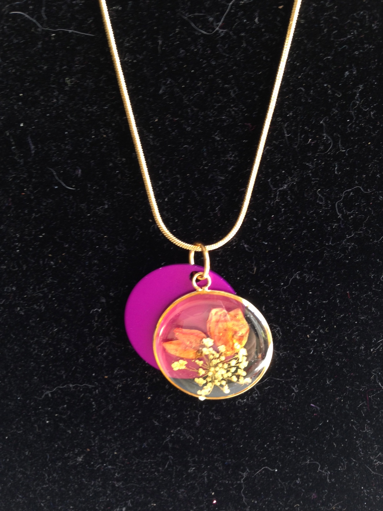 Pressed Flowers with Purple Energy Disk Pendants