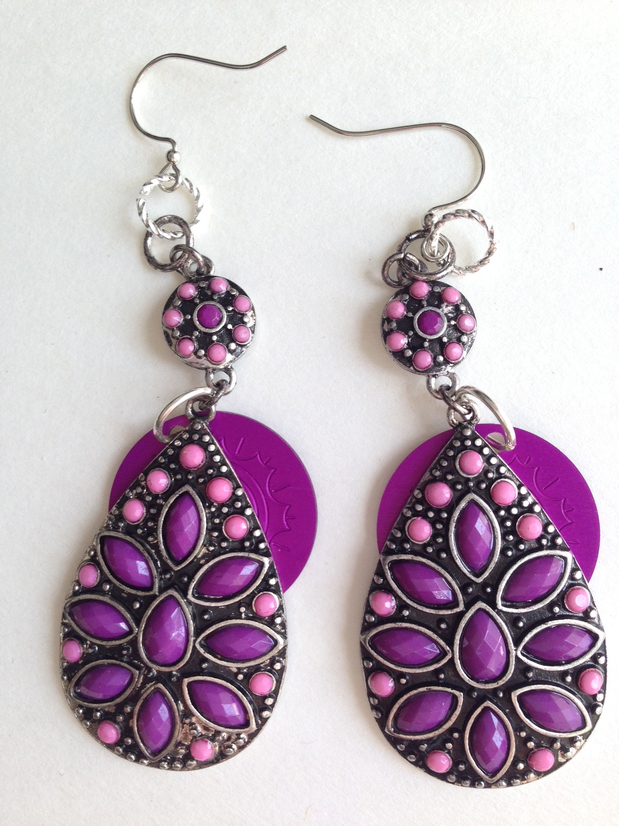 Purple and Pink Stone Large Dangle Earrings