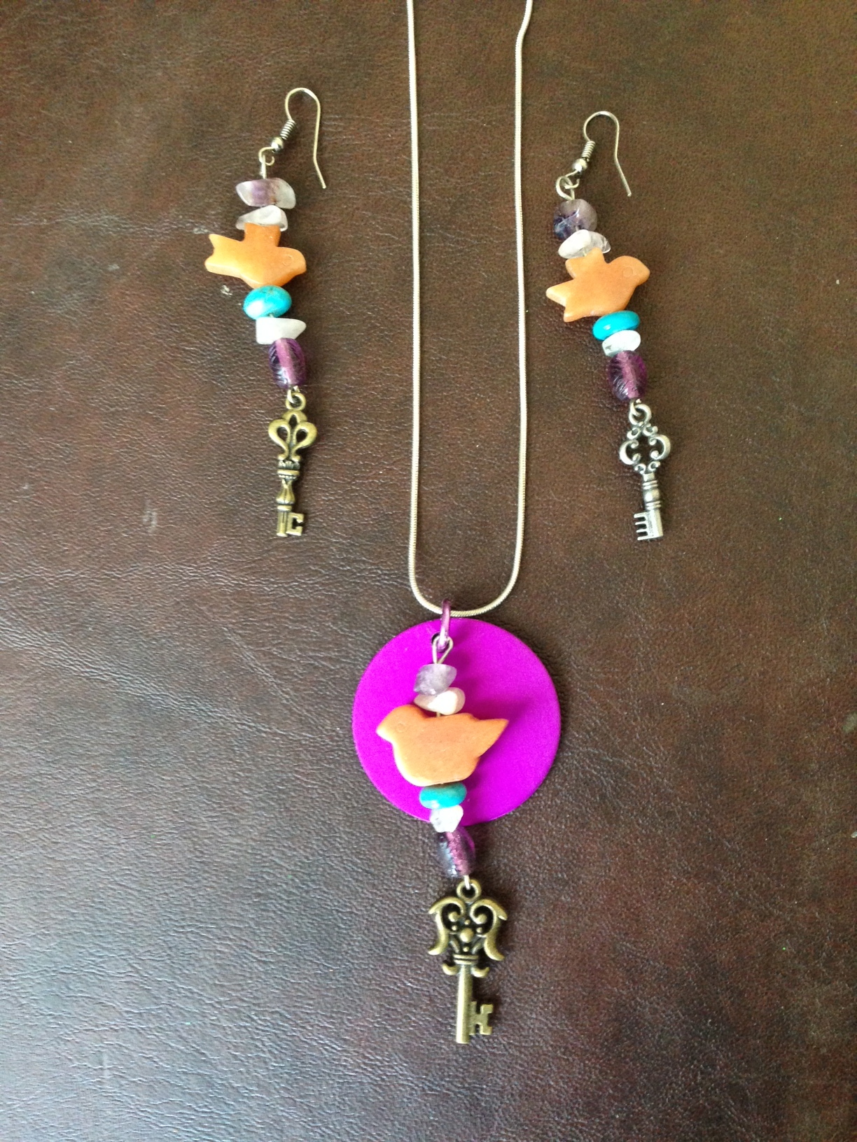 Set: Pendant with Energy Disk and Earrings